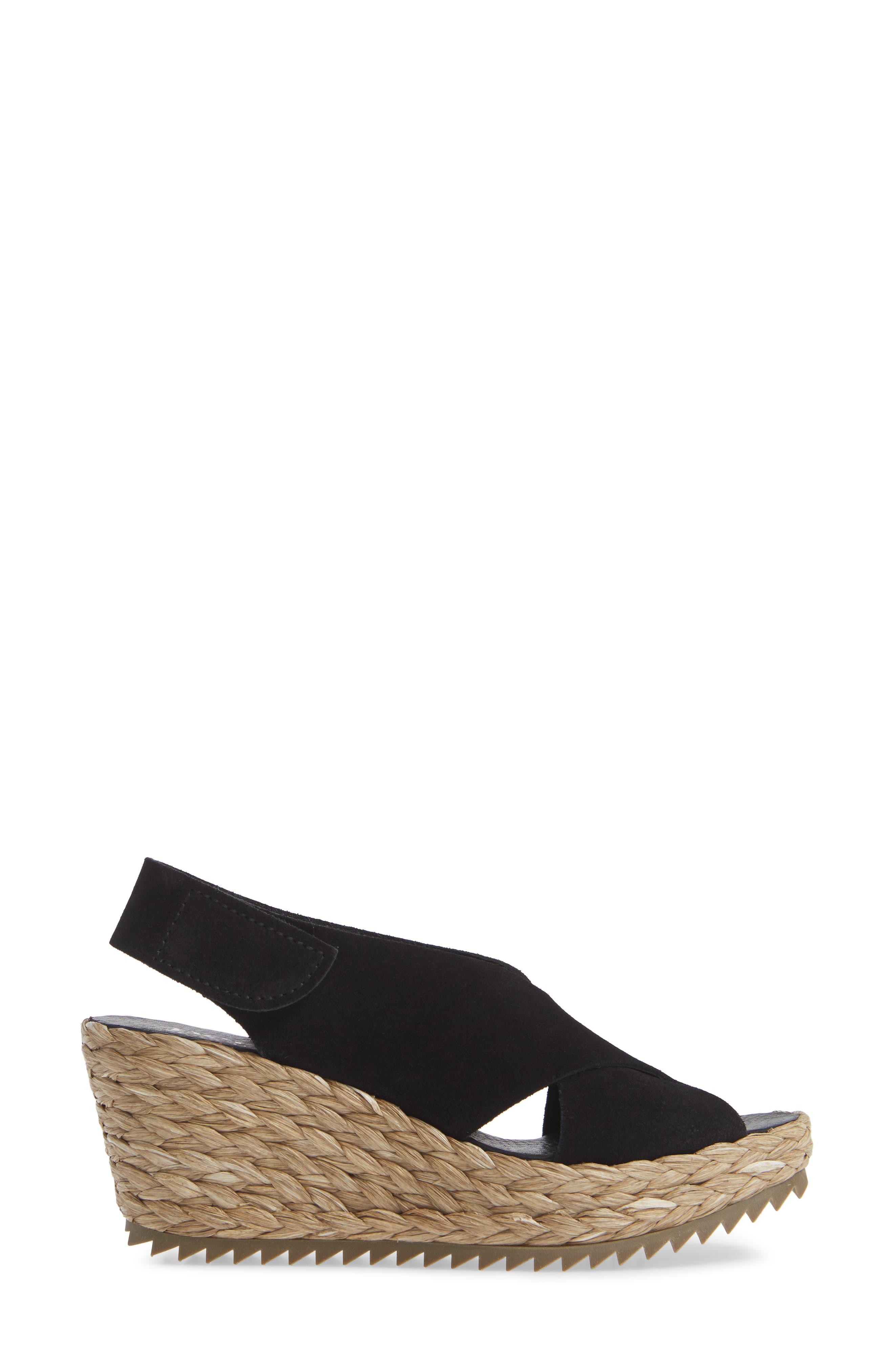'Federica' Wedge Sandal,                             Alternate thumbnail 3, color,                             BLACK CASTORO/ RAFFIA