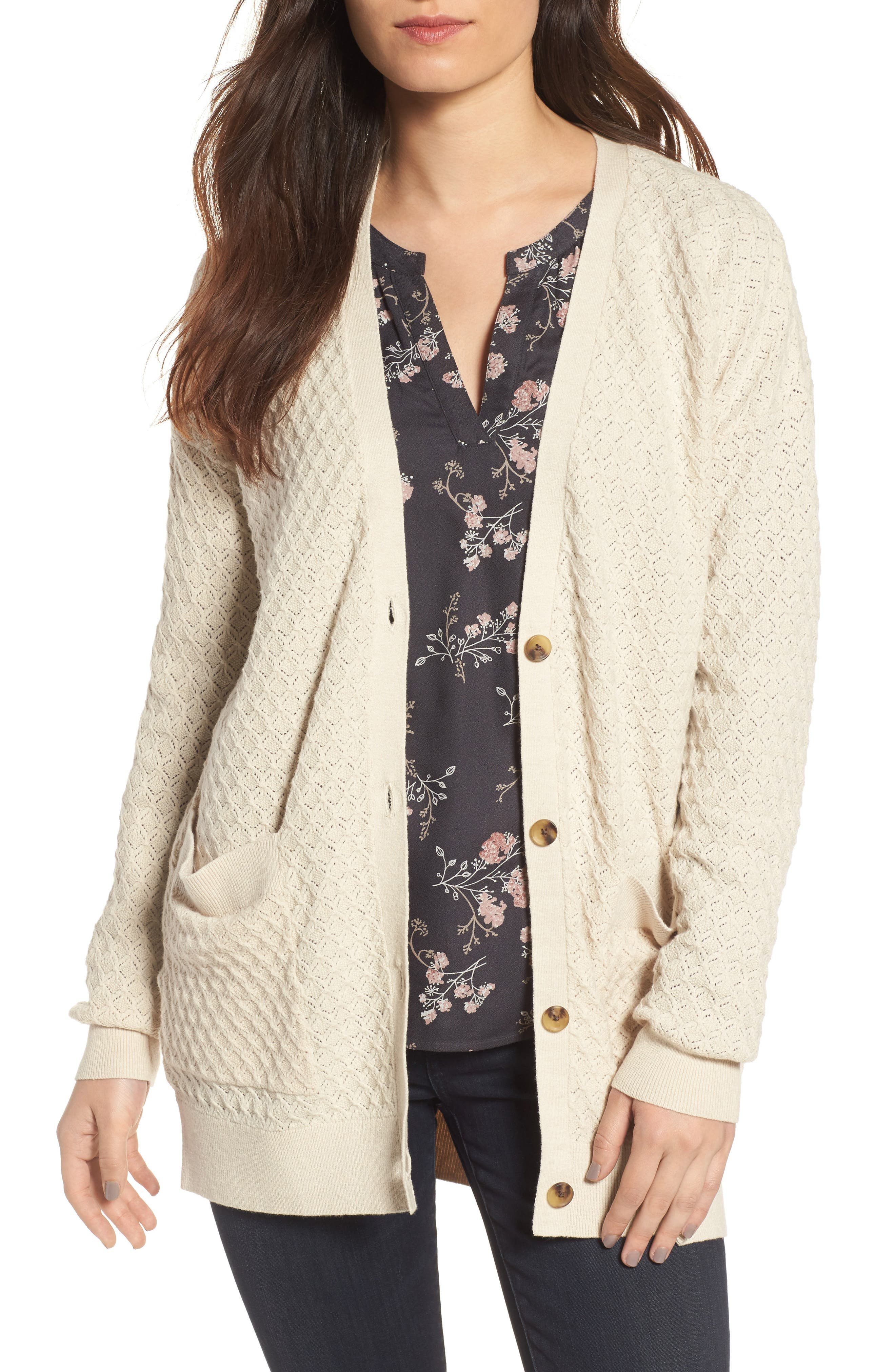 Pointelle Cardigan Sweater,                             Main thumbnail 2, color,