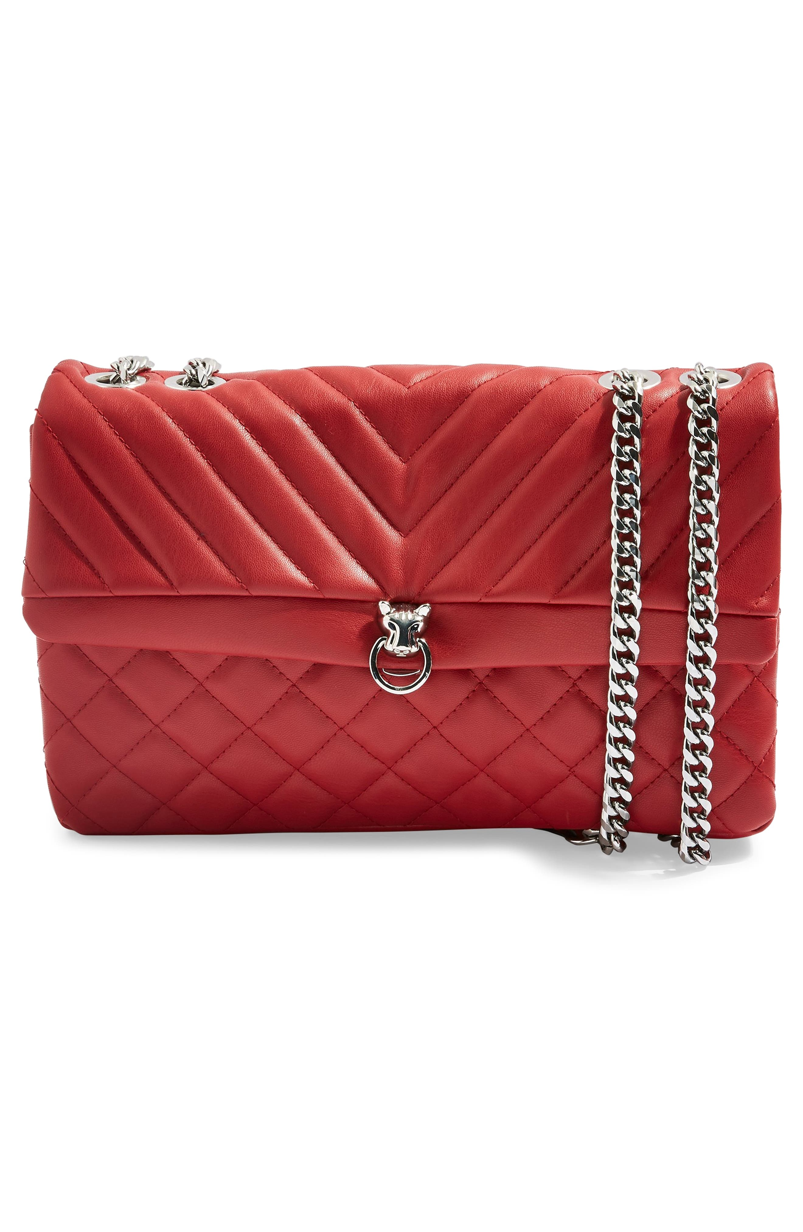 Panther Quilted Faux Leather Shoulder Bag,                             Alternate thumbnail 4, color,                             RED MULTI