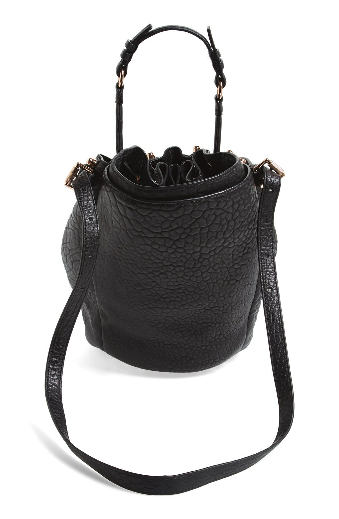 'Diego - Rose Gold' Leather Bucket Bag,                             Alternate thumbnail 2, color,                             001