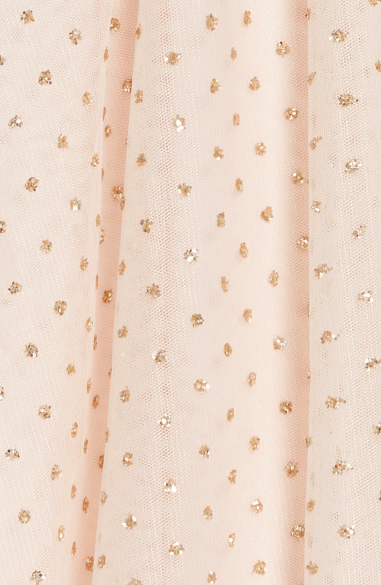 ZUNIE,                             Flutter Sleeve Glitter Dress,                             Alternate thumbnail 3, color,                             BLUSH