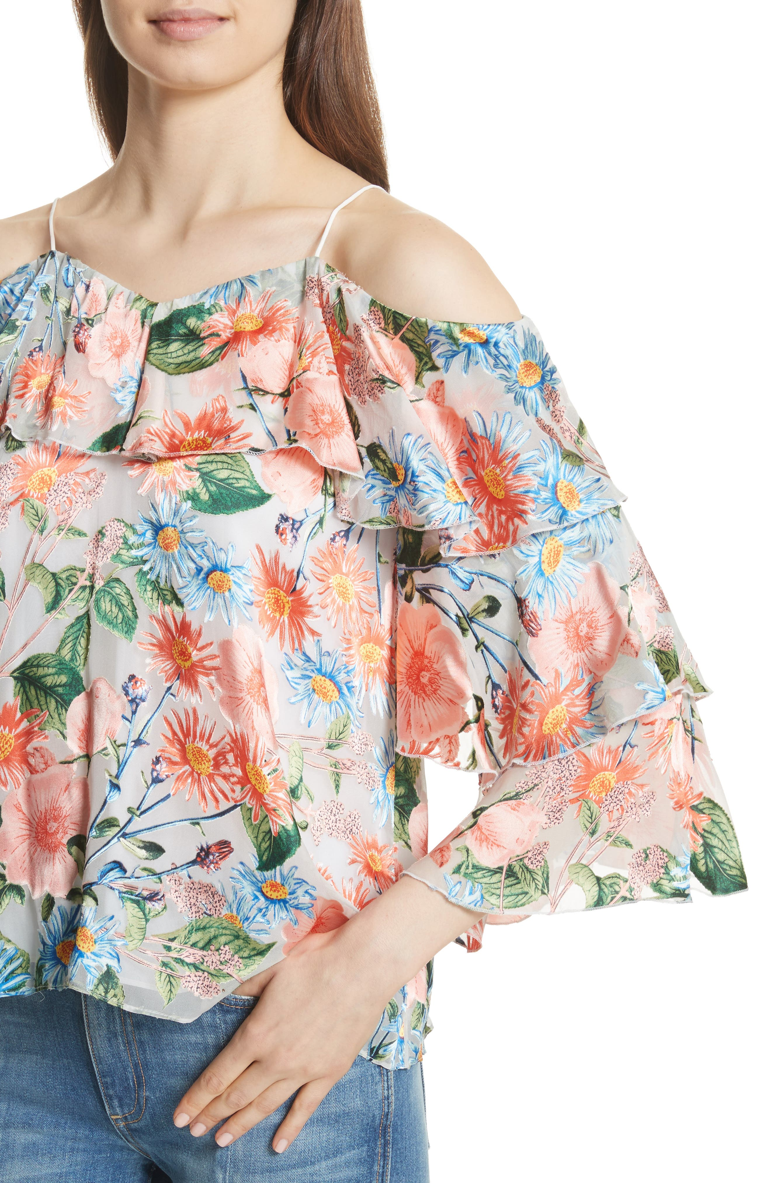 Marylee Floral Off the Shoulder Blouse,                             Alternate thumbnail 4, color,                             470