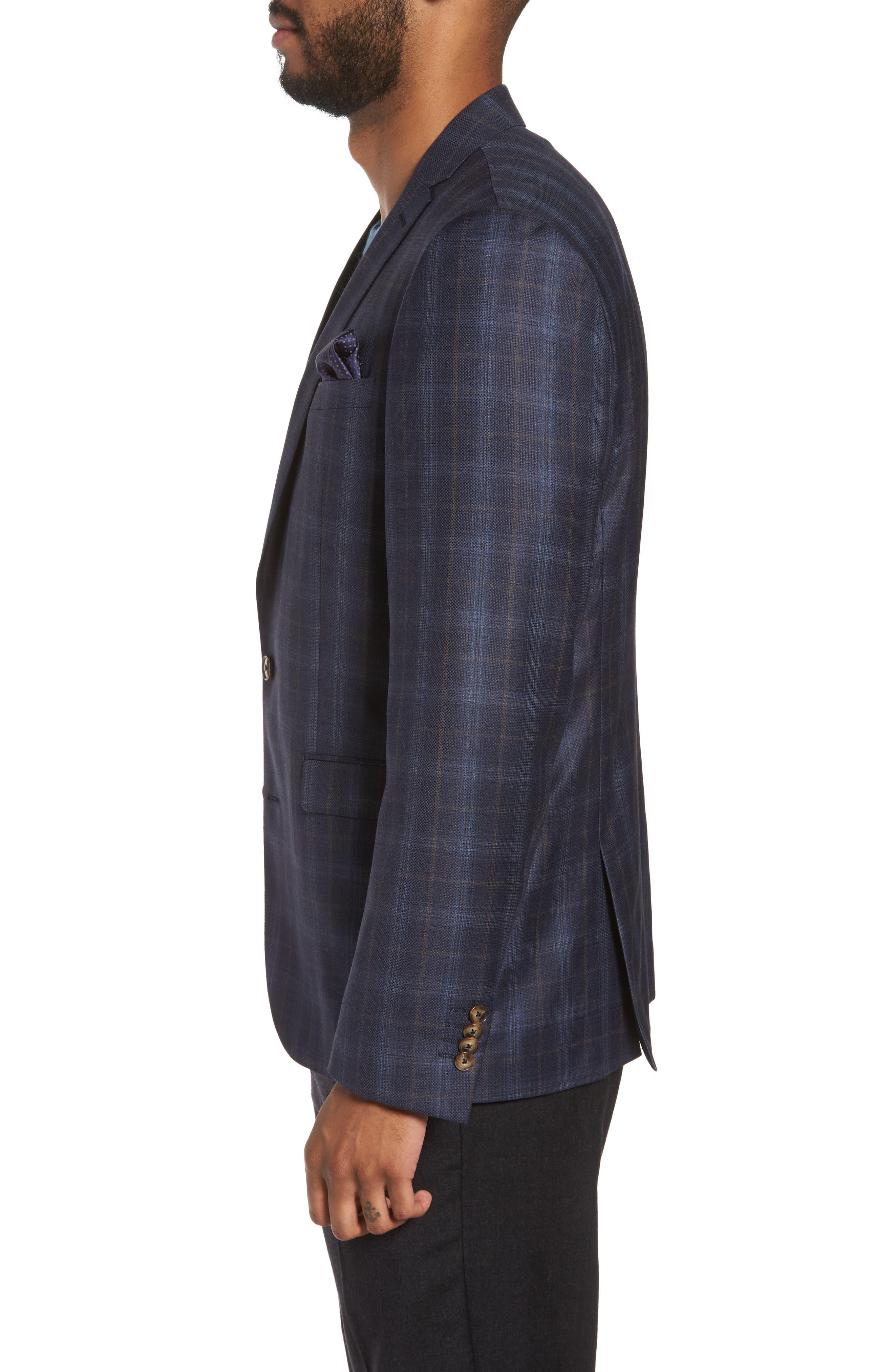 Trim Fit Plaid Wool Sport Coat,                             Alternate thumbnail 3, color,