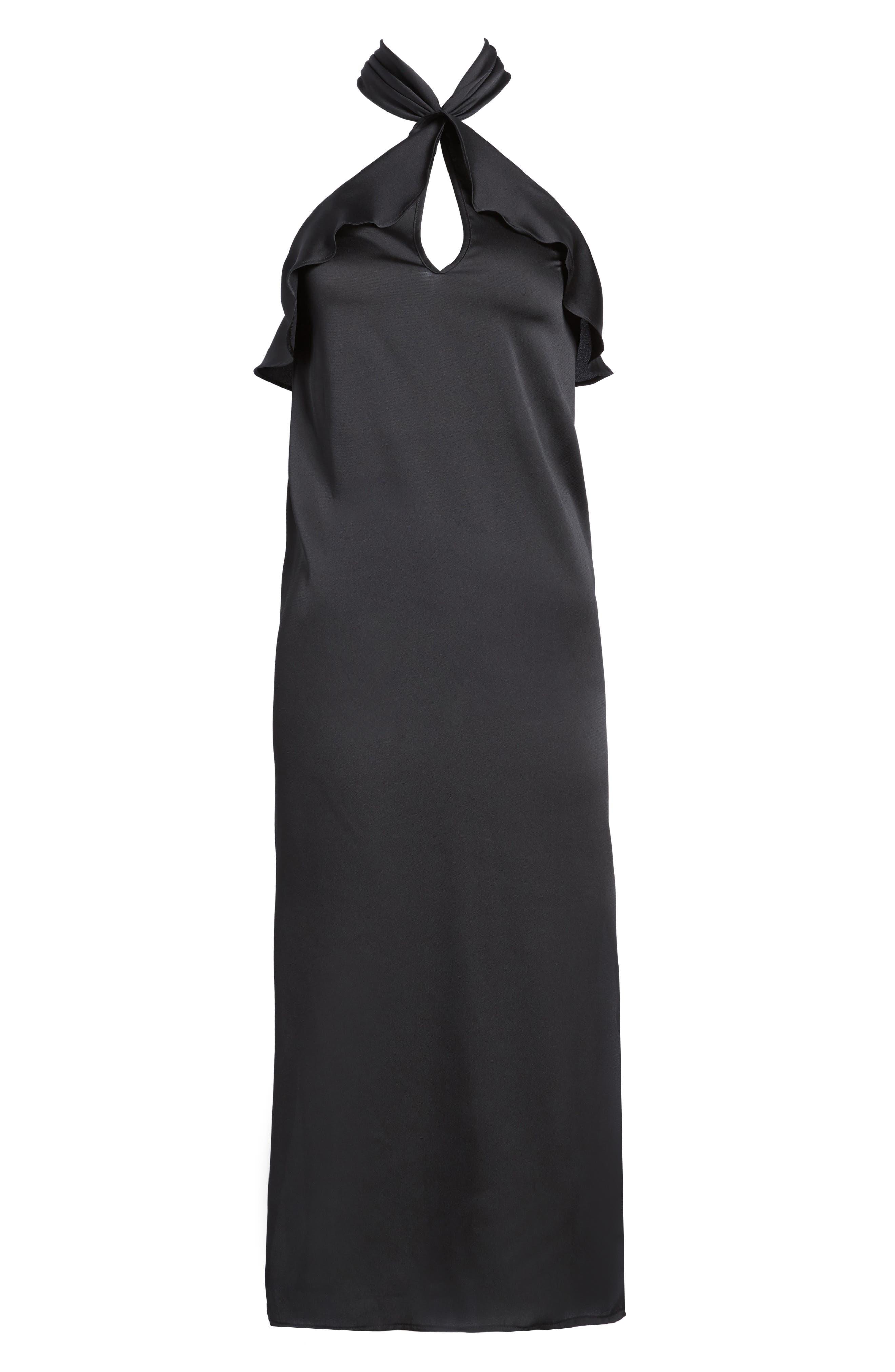 Lola Ruffle Halter Dress,                             Alternate thumbnail 6, color,                             001