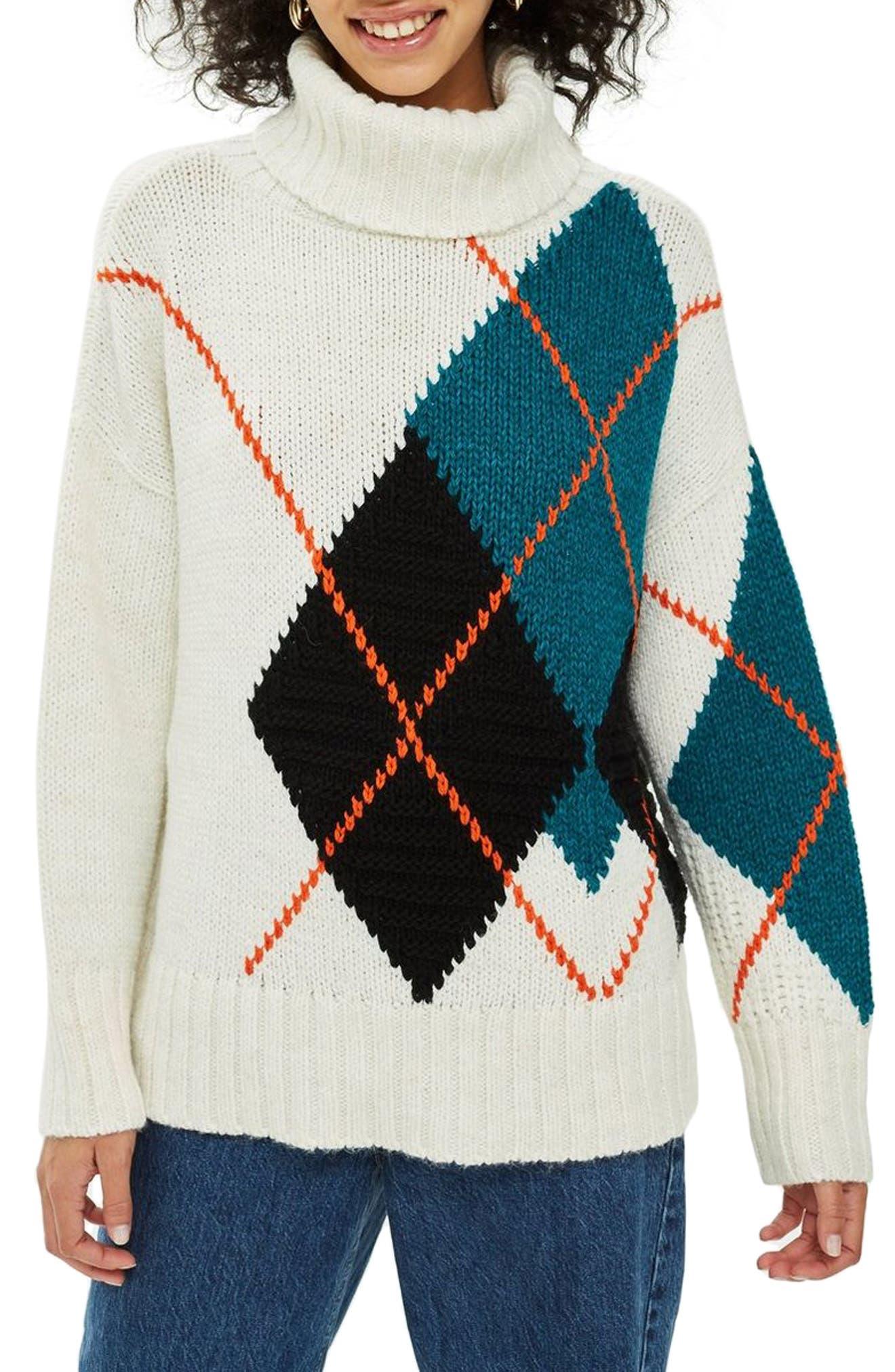 Oversized Argyle Turtleneck Sweater,                         Main,                         color, IVORY MULTI
