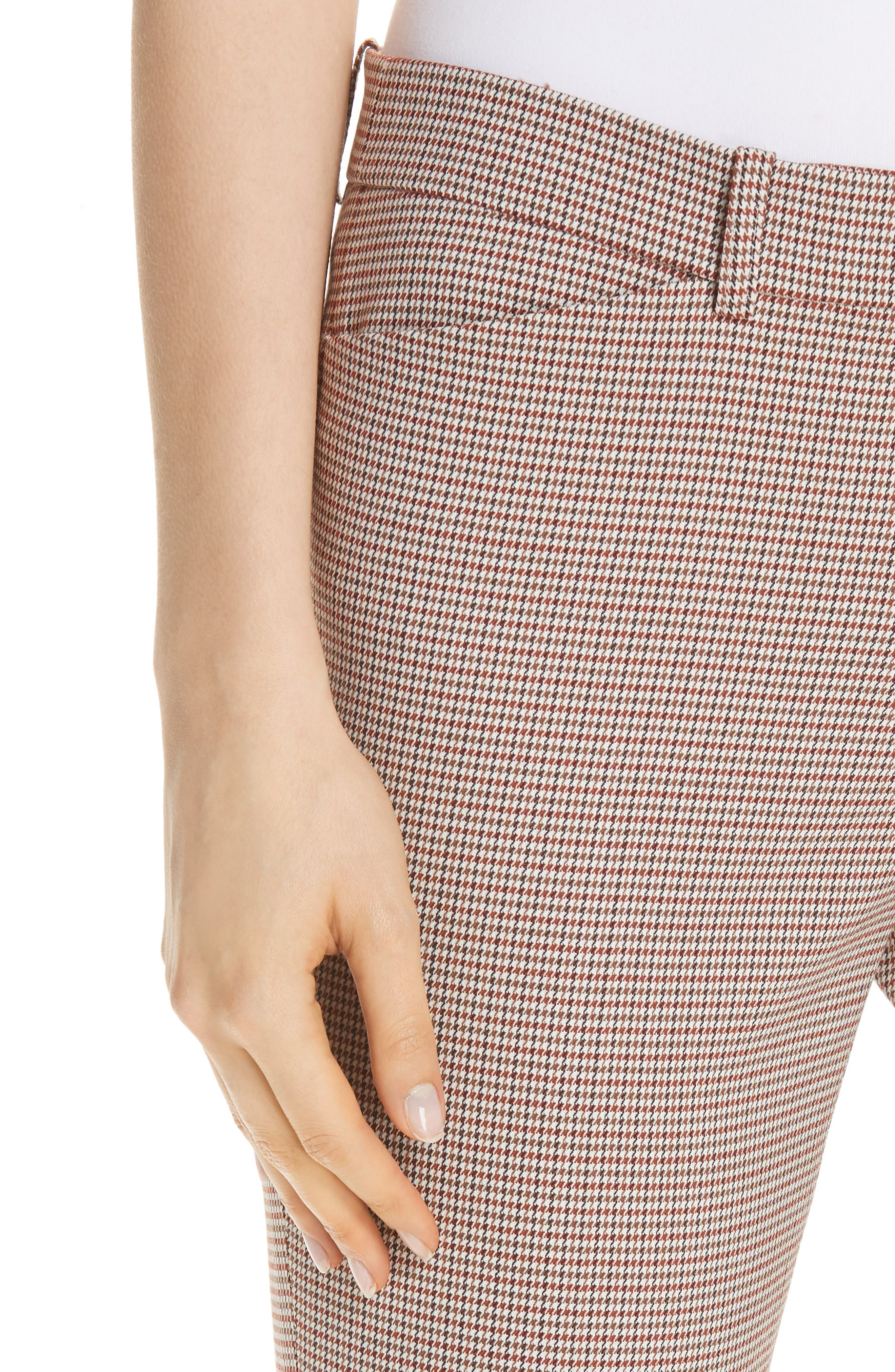 Manhattan Houndstooth Wool Blend Skinny Pants,                             Alternate thumbnail 4, color,                             SAFFRON MULTI