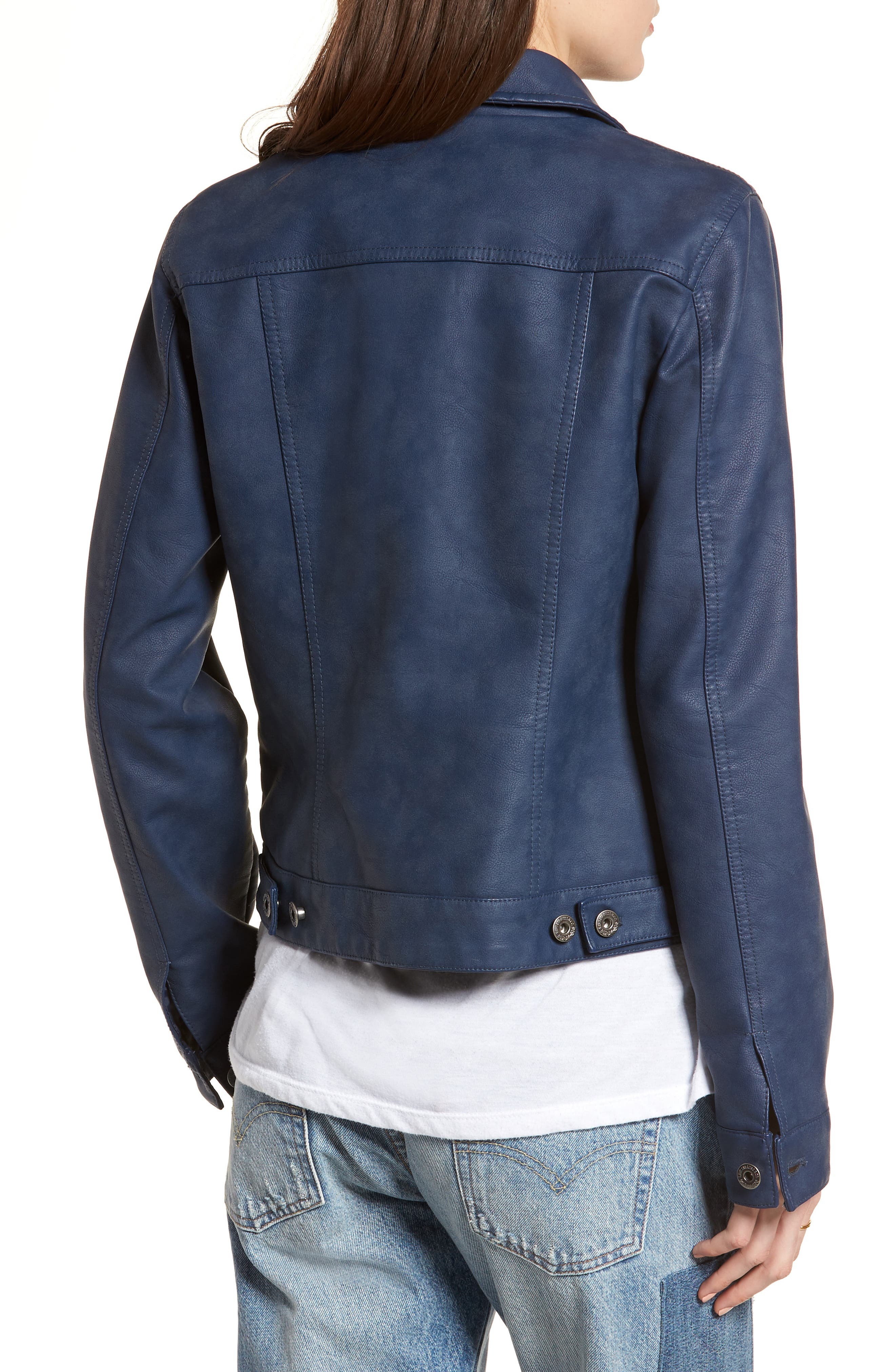 LEVI'S<SUP>®</SUP>,                             Faux Leather Trucker Jacket,                             Alternate thumbnail 2, color,                             421