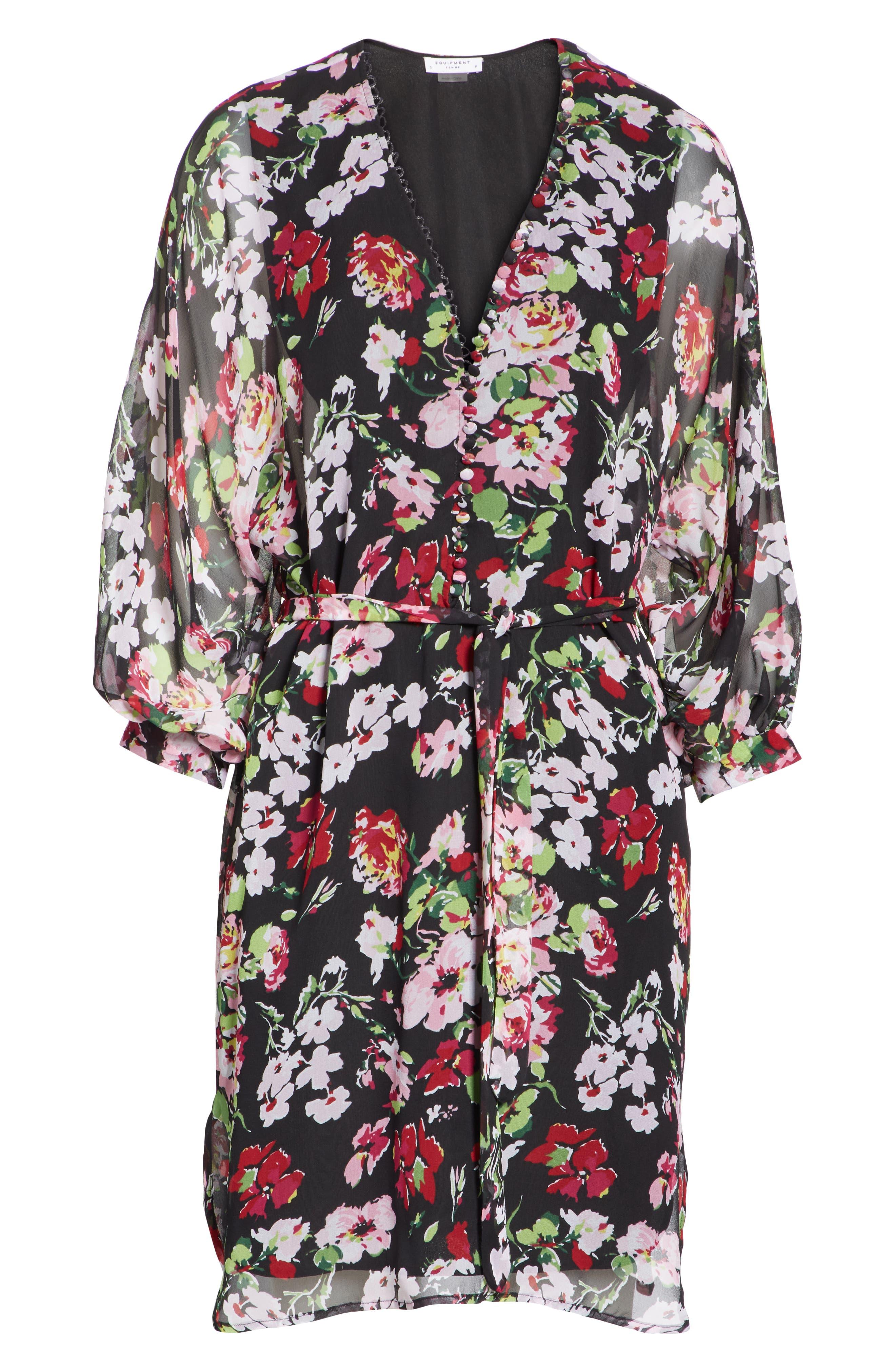 Natasha Floral Print Silk Dress,                             Alternate thumbnail 6, color,                             TRUE BLACK MULTI