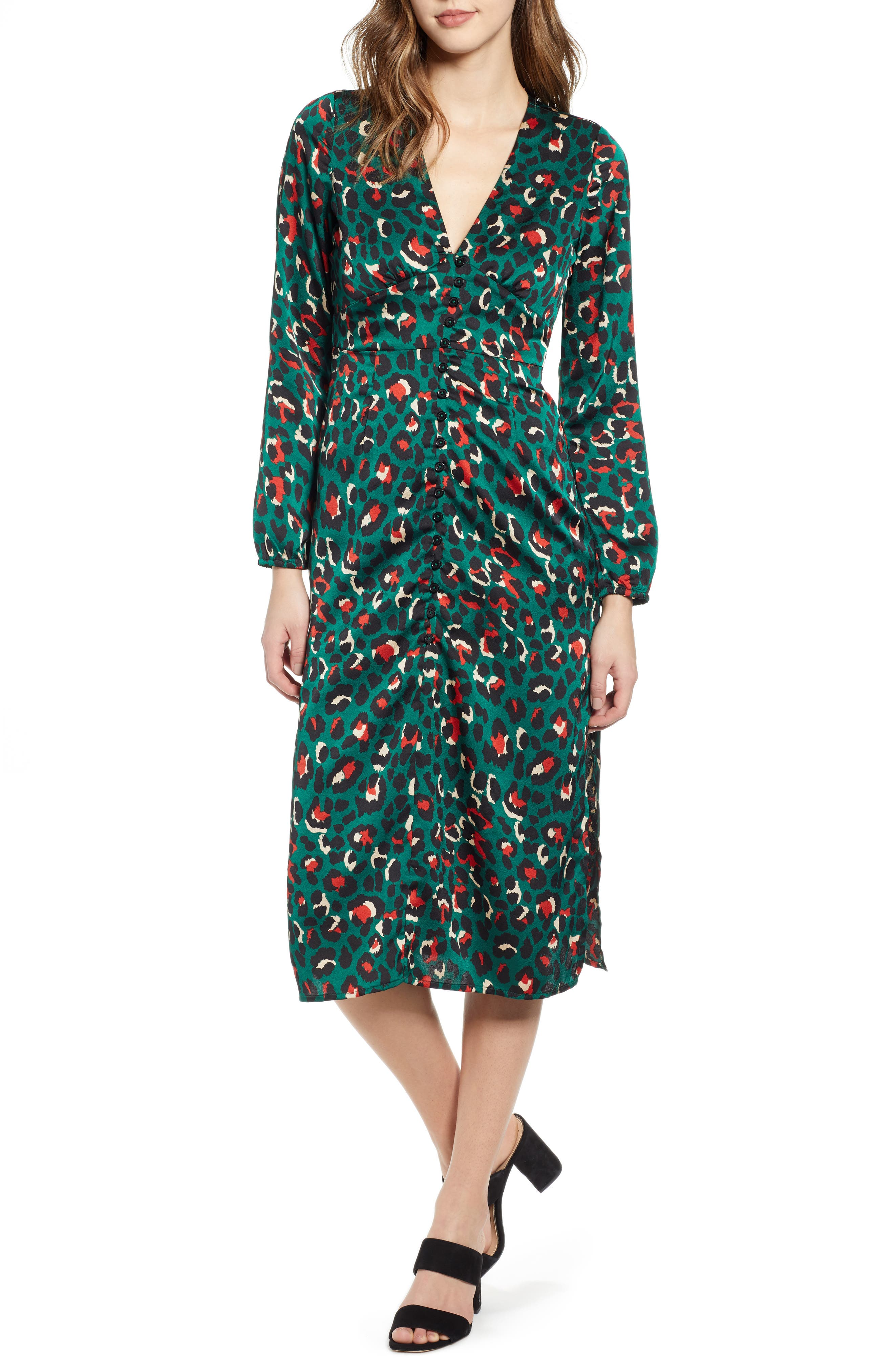 Leith Button Front Midi Dress, Blue/green