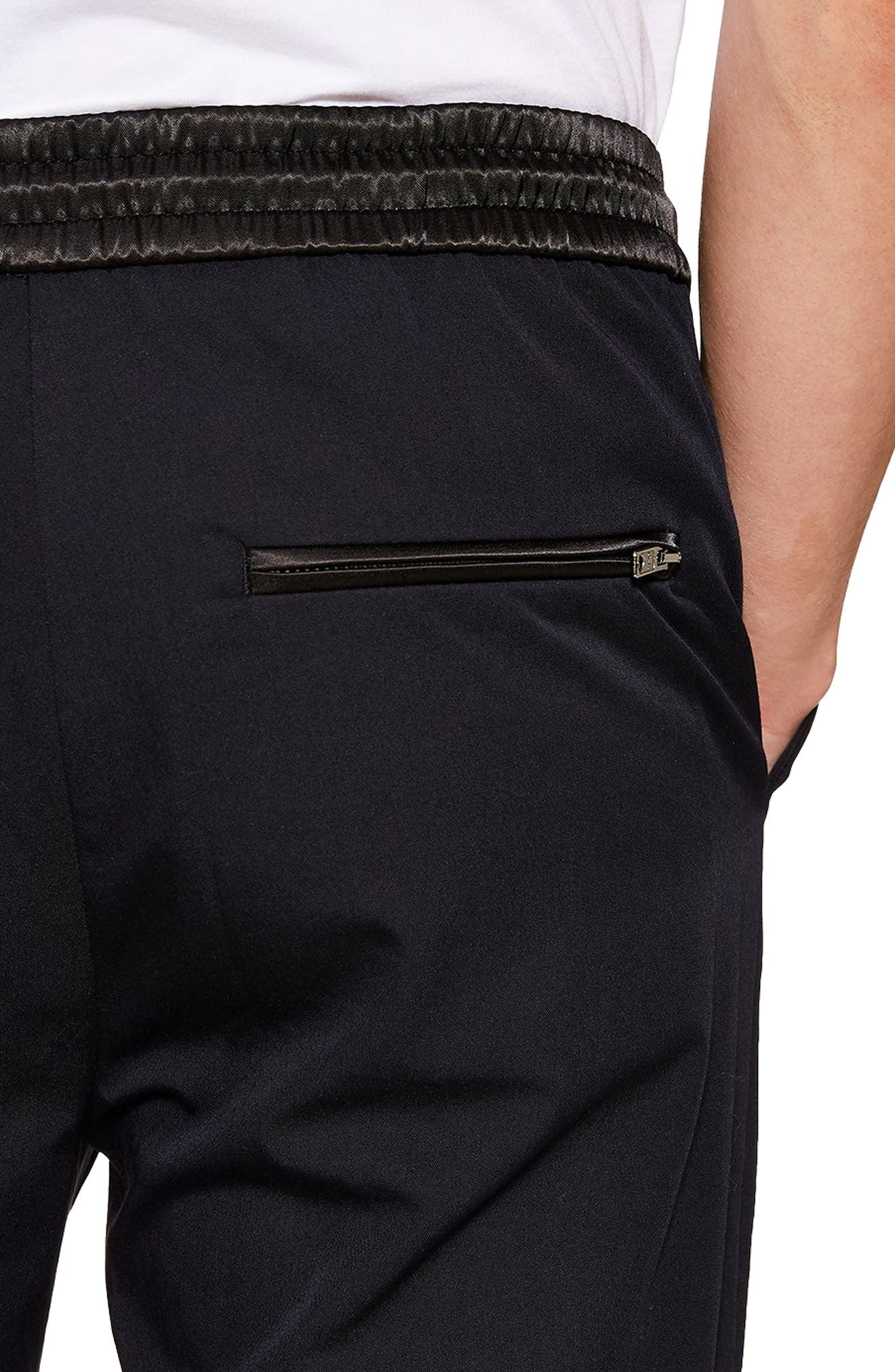 TOPMAN,                             Relaxed Cropped Trousers,                             Alternate thumbnail 3, color,                             NAVY BLUE
