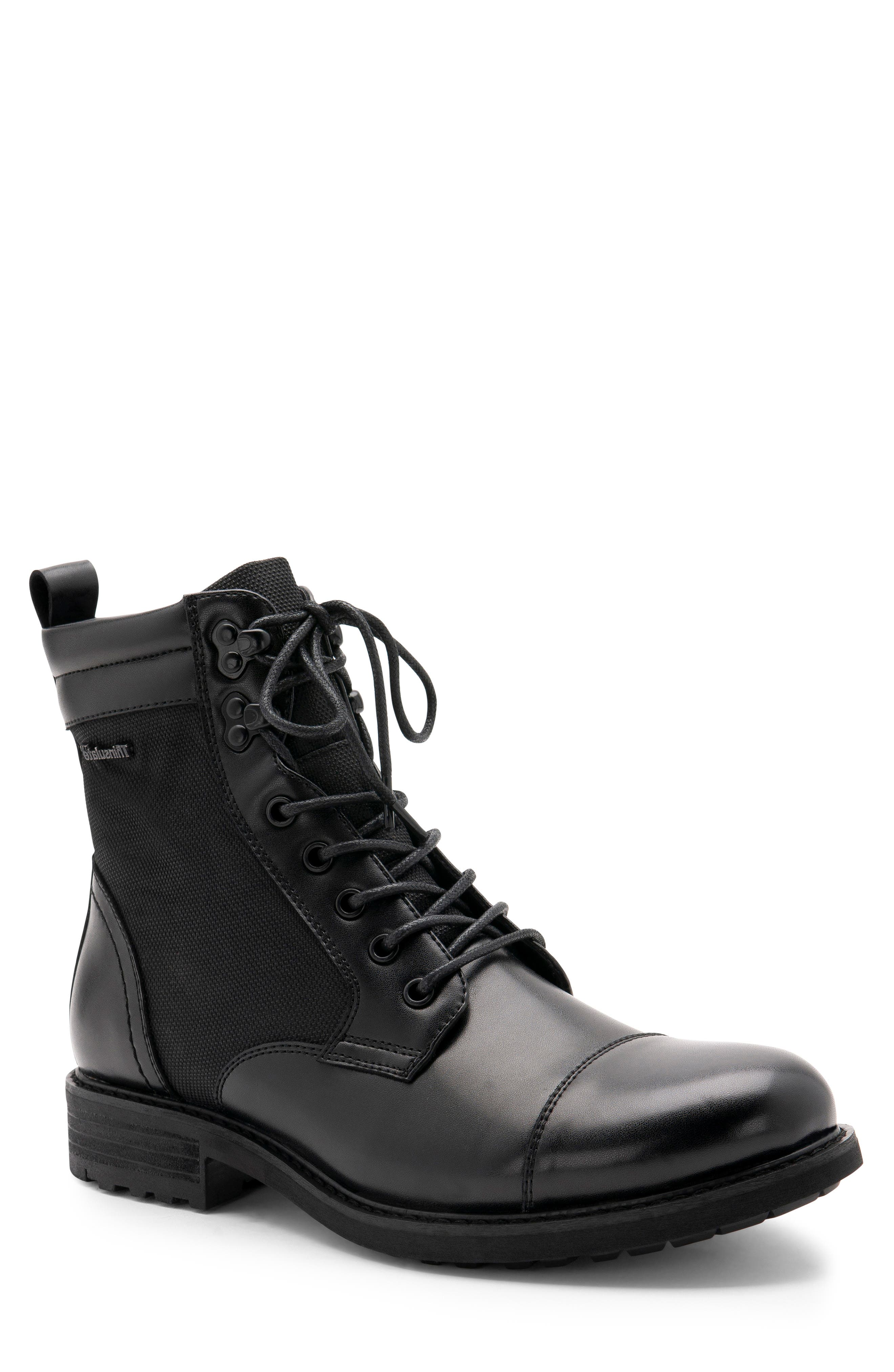 Paxton Waterproof Cap Toe Boot,                             Main thumbnail 1, color,                             BLACK LEATHER