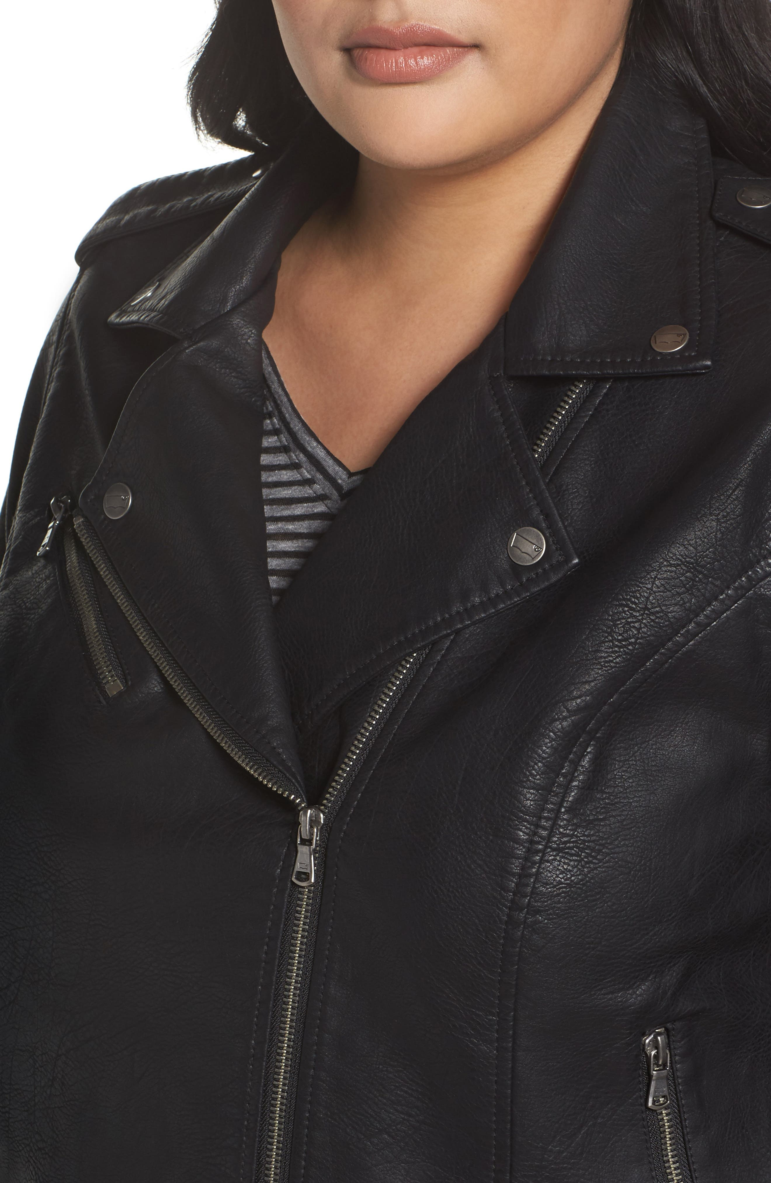 Faux Leather Jacket,                             Alternate thumbnail 4, color,                             BLACK