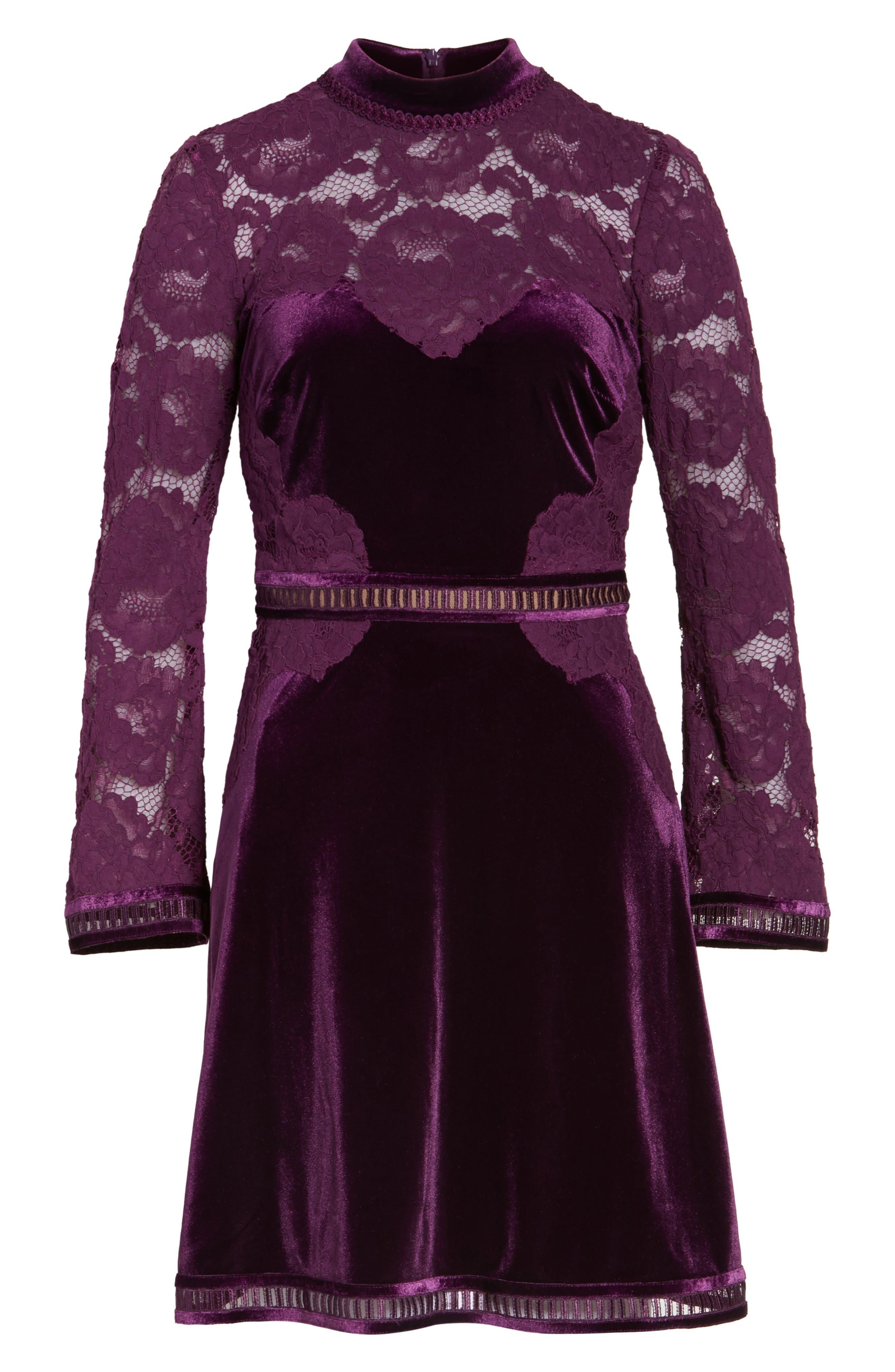 High Neck Lace & Velvet Cocktail Dress,                             Alternate thumbnail 6, color,                             572