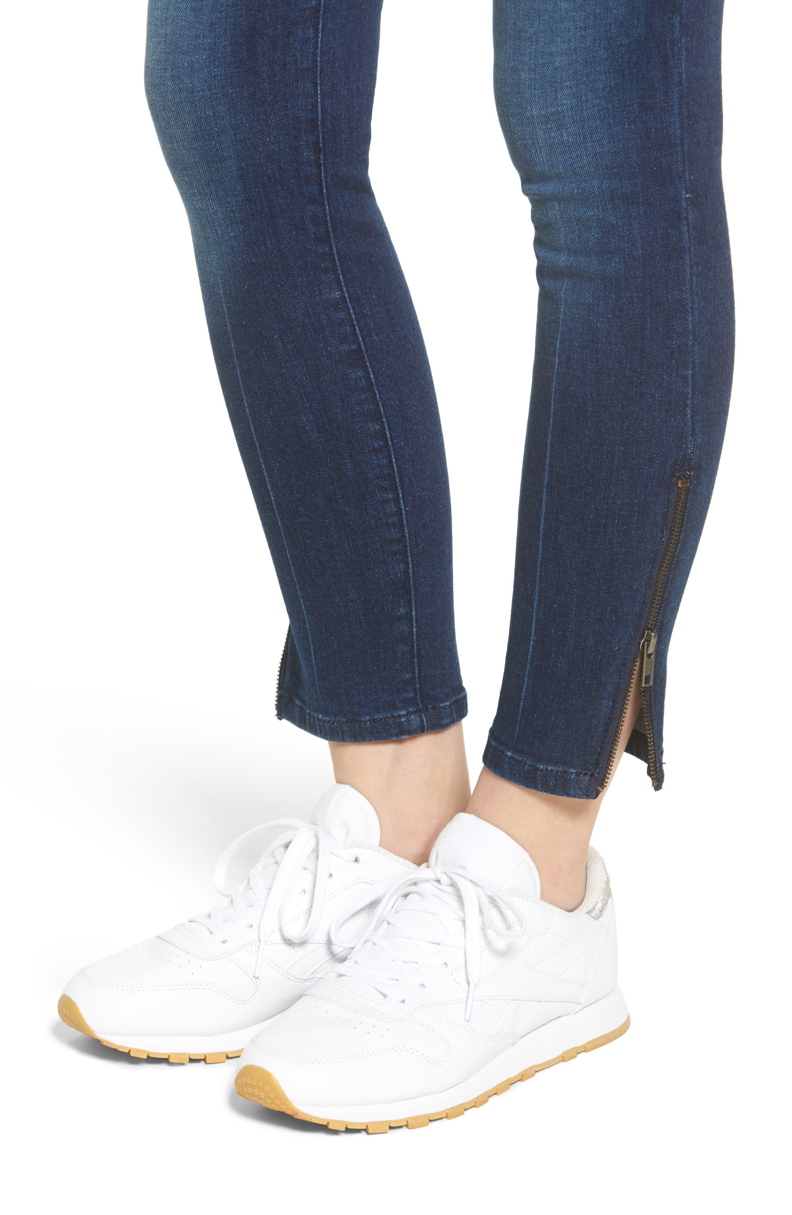 Emma Ankle Zip Skinny Jeans,                             Alternate thumbnail 4, color,                             400