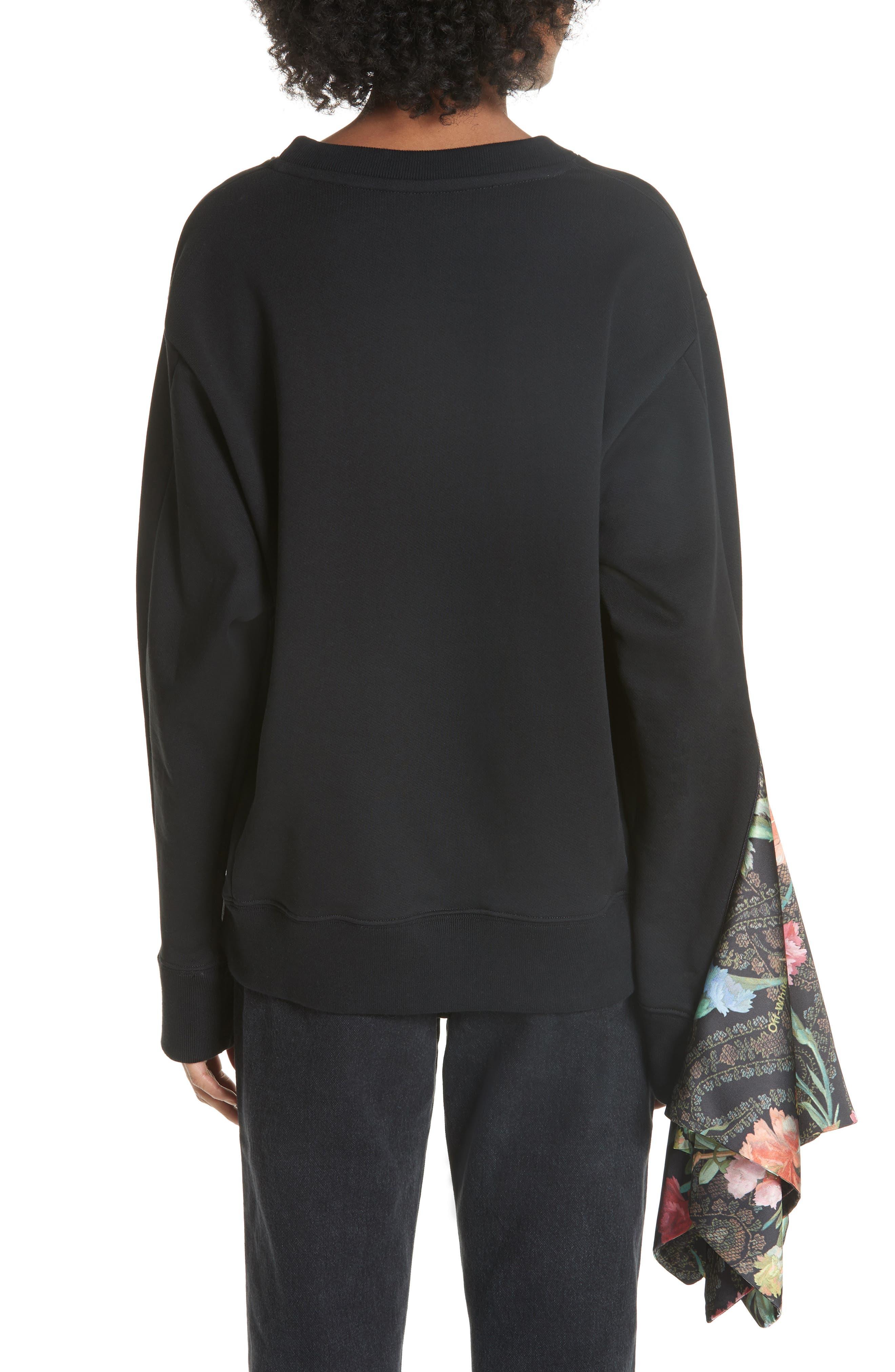 Foulard Sleeve Crewneck Sweatshirt,                             Alternate thumbnail 3, color,                             001