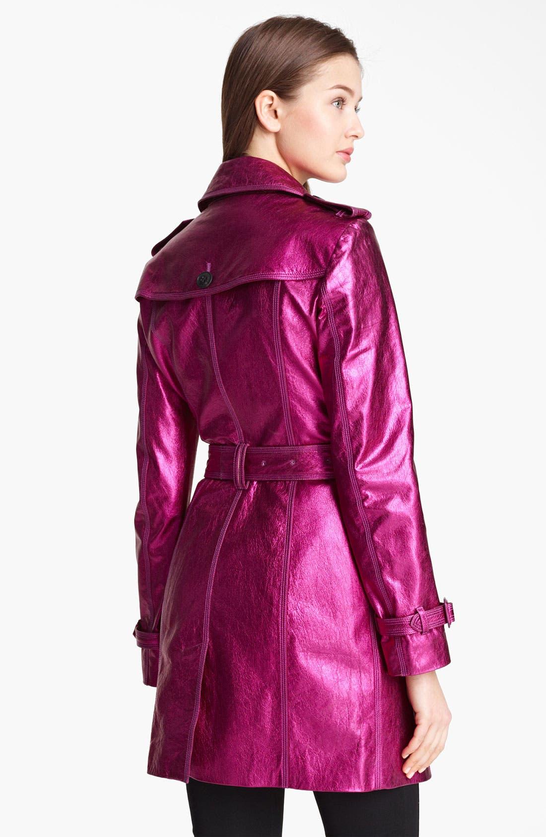 London Metallic Leather Trench Coat,                             Alternate thumbnail 3, color,                             652