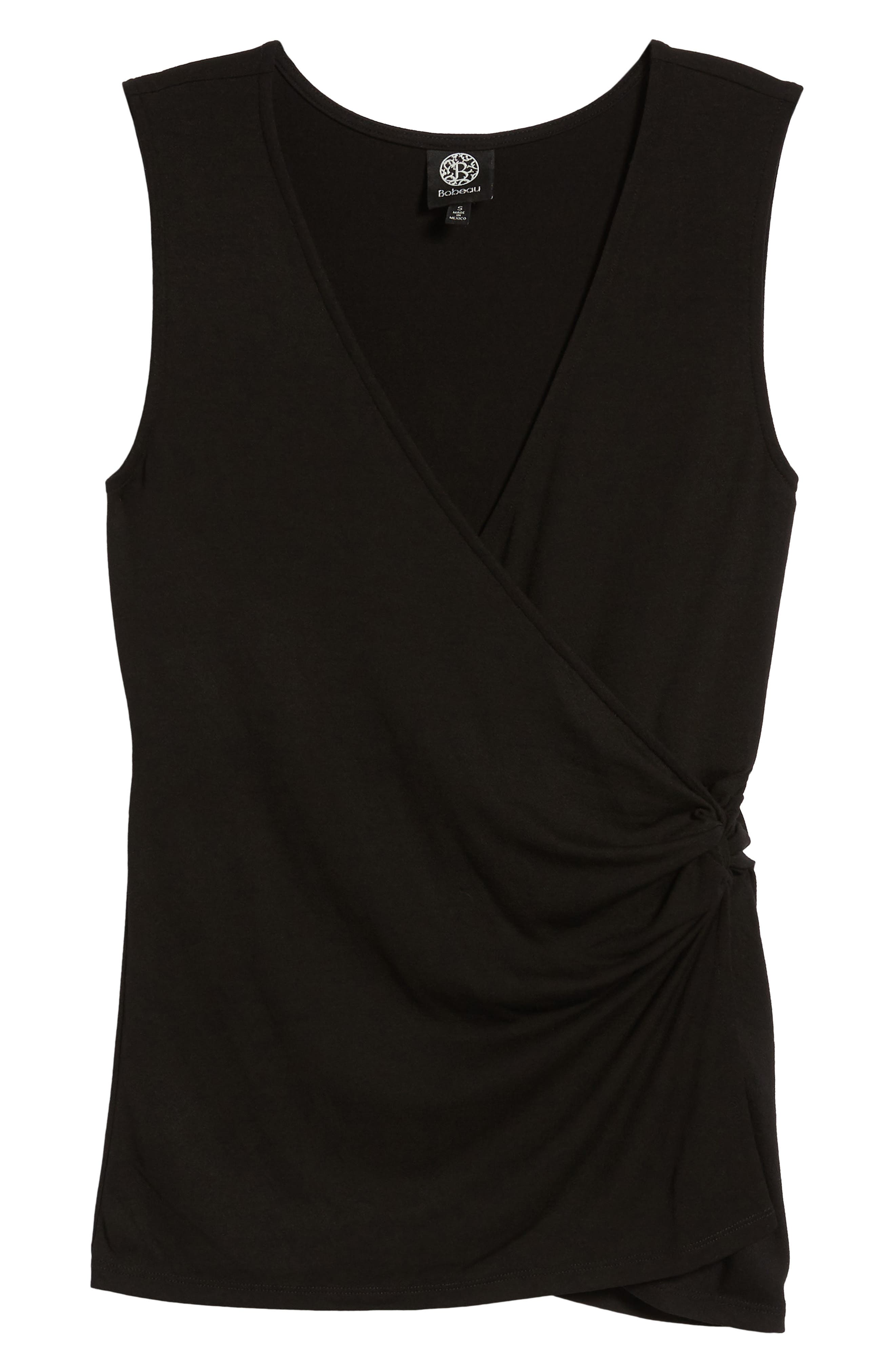 Side Knot Ruched Tank Top,                             Alternate thumbnail 7, color,                             001