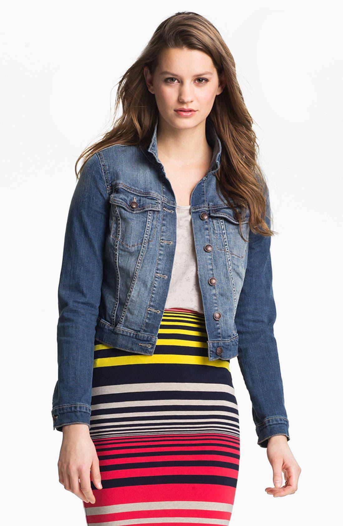 JESSICA SIMPSON 'Pixie' Denim Jacket, Main, color, 400