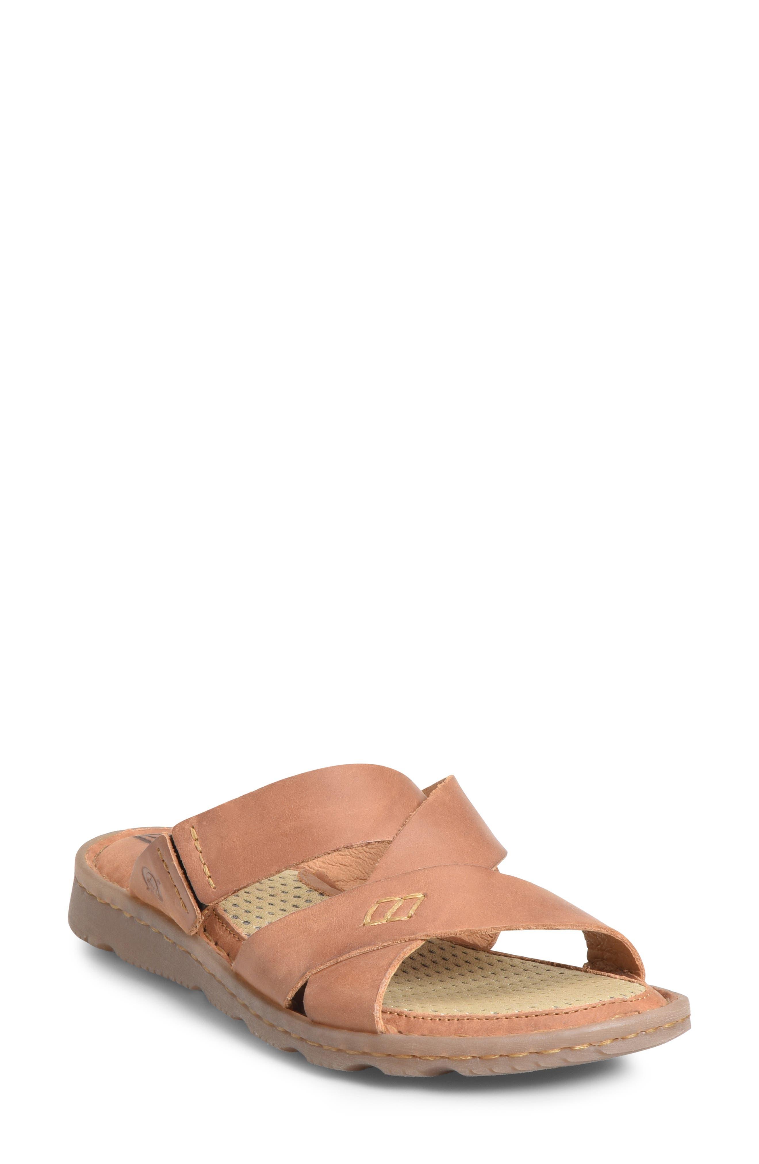 B?rn Hayka Asymmetrical Slide Sandal, Brown