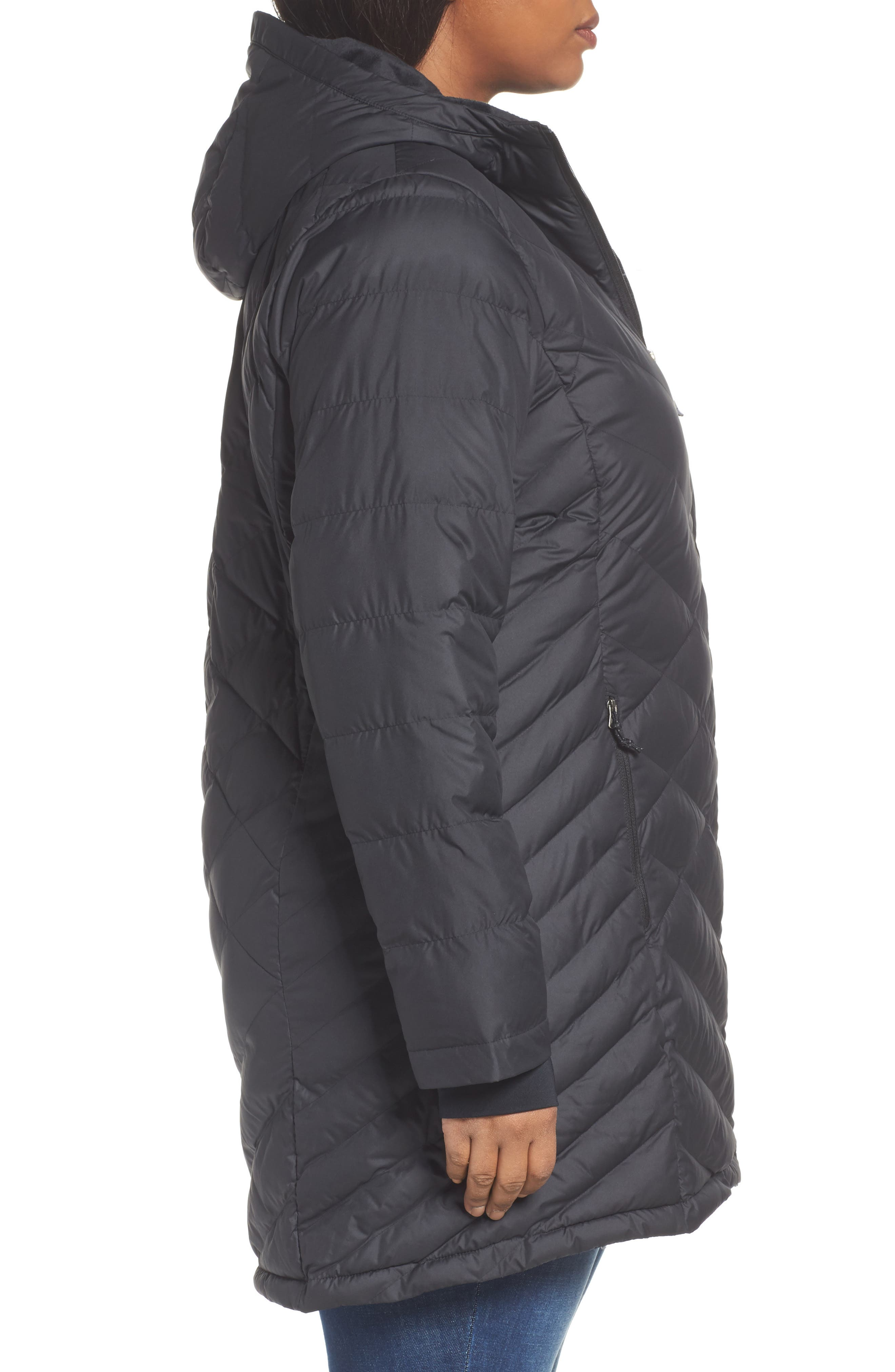 Heavenly Water Resistant Insulated Long Hooded Jacket,                             Alternate thumbnail 3, color,                             010