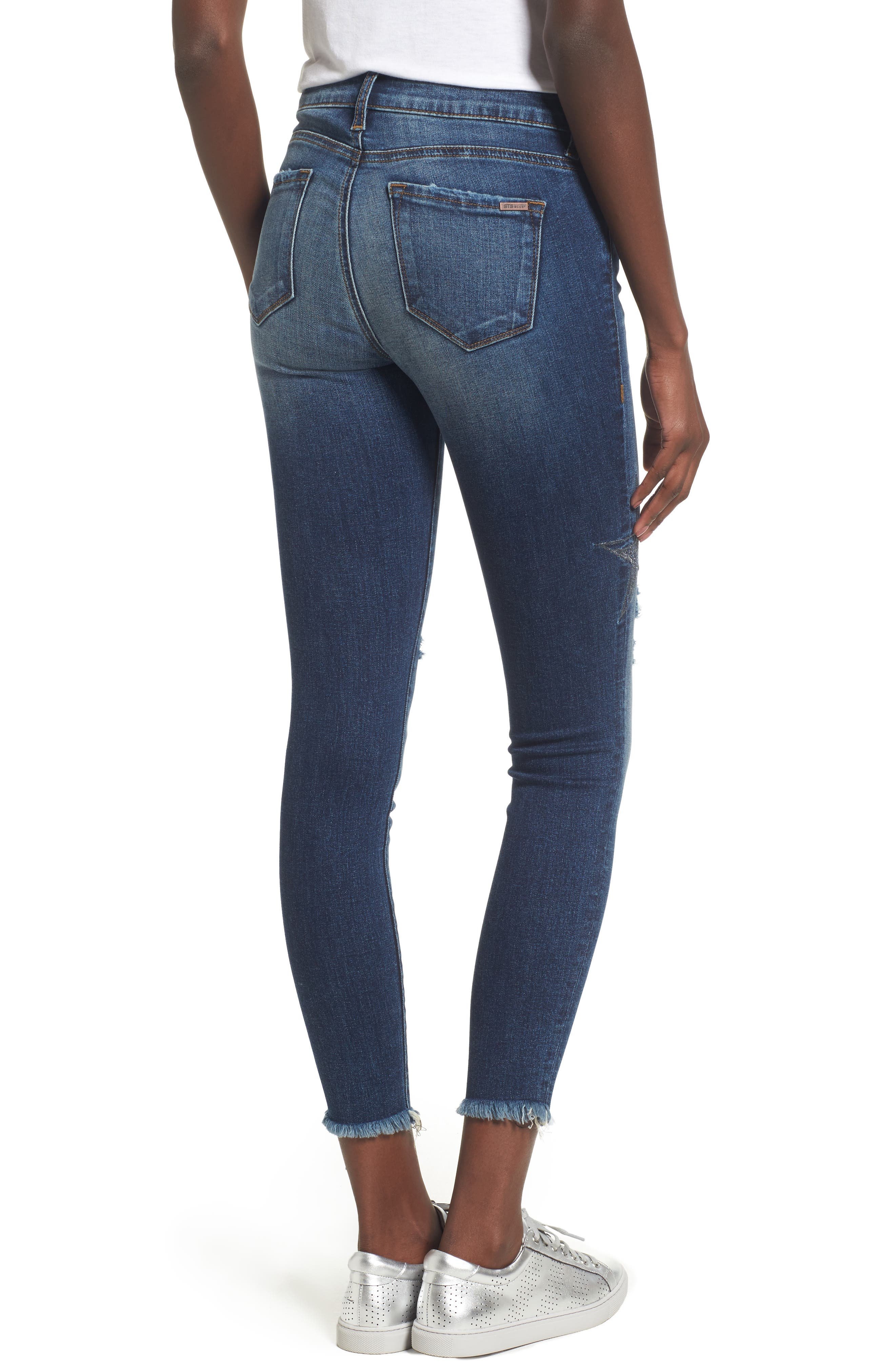 Star Embroiderd Skinny Ankle Jeans,                             Alternate thumbnail 2, color,                             400