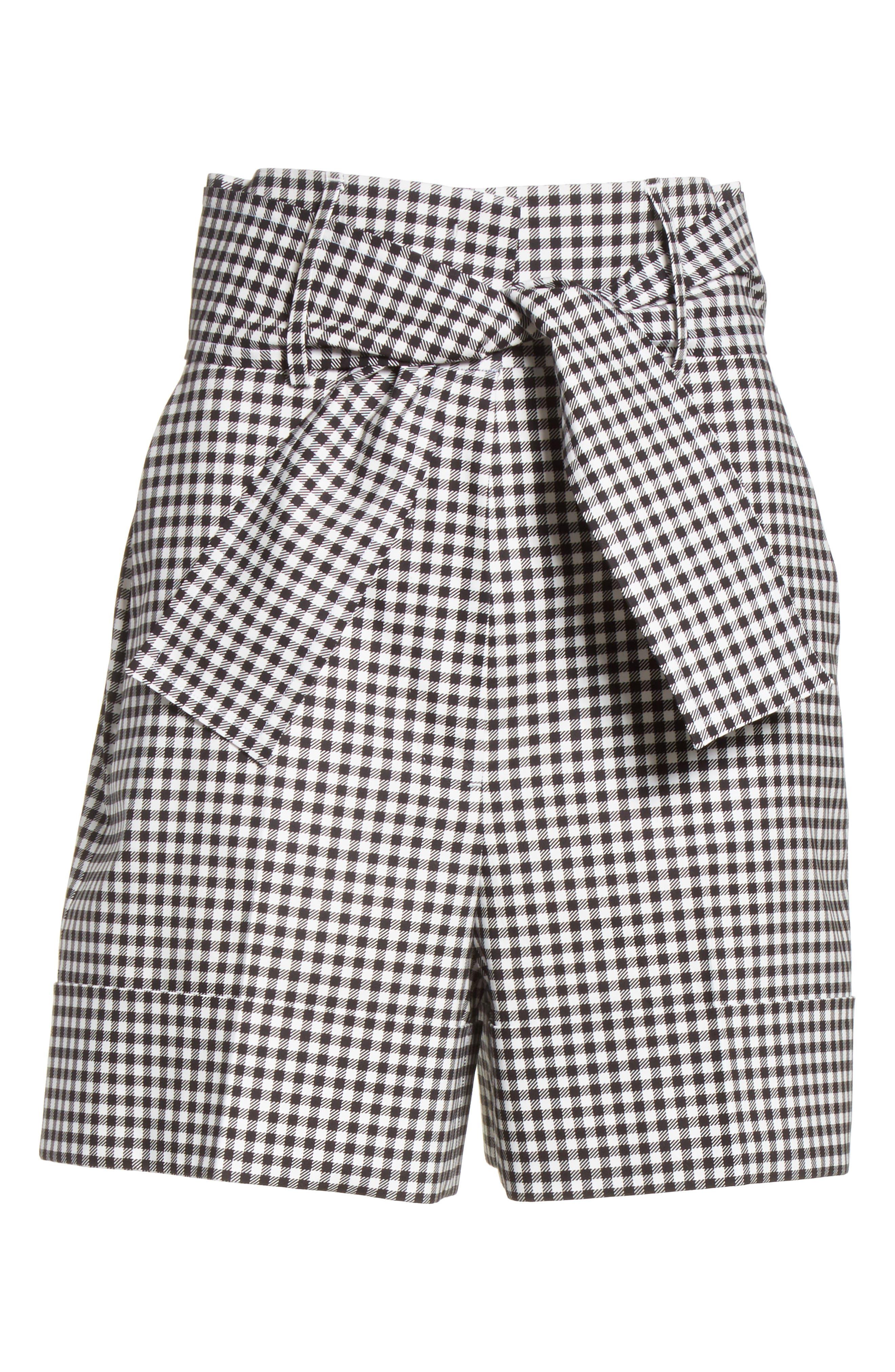 Tie Waist Gingham Shorts,                             Alternate thumbnail 6, color,                             001