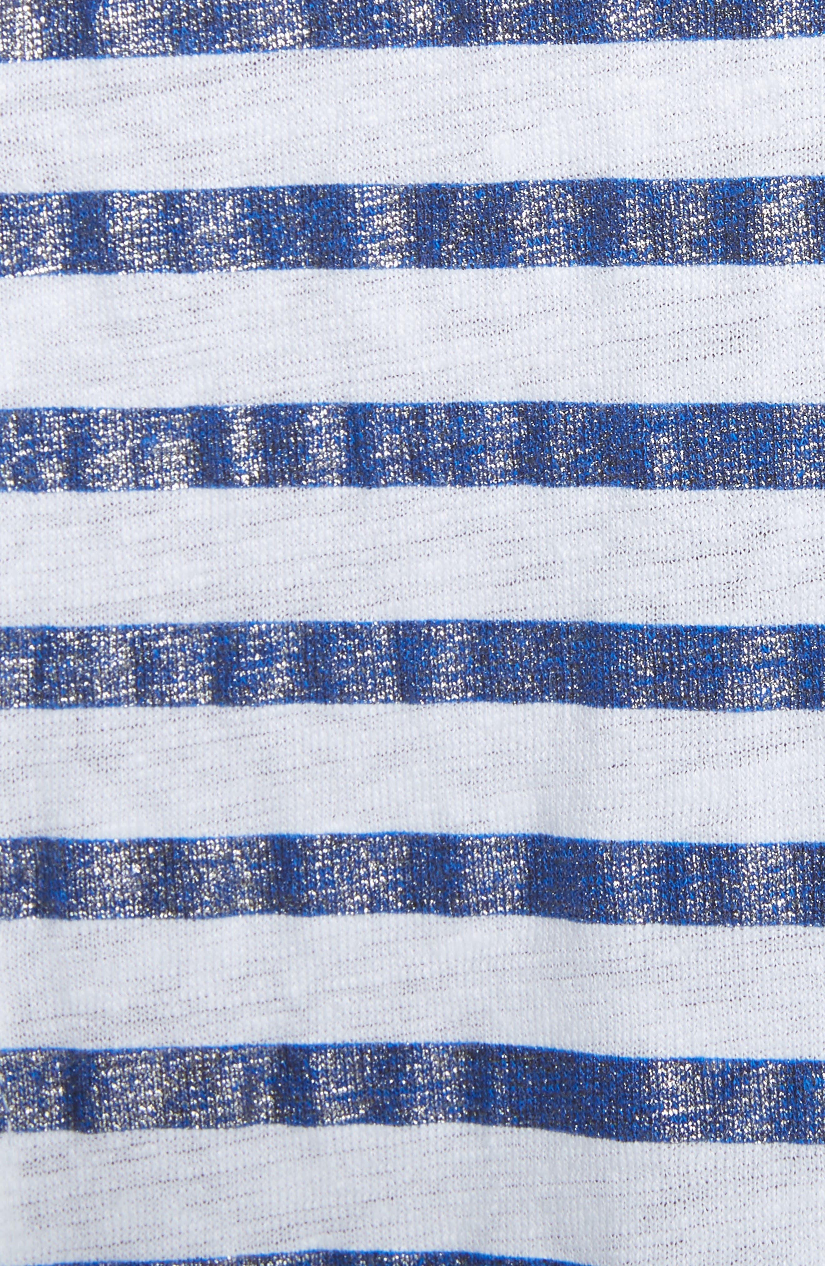 Metallic Stripe Top,                             Alternate thumbnail 5, color,                             BLANC/ MARINE METAL