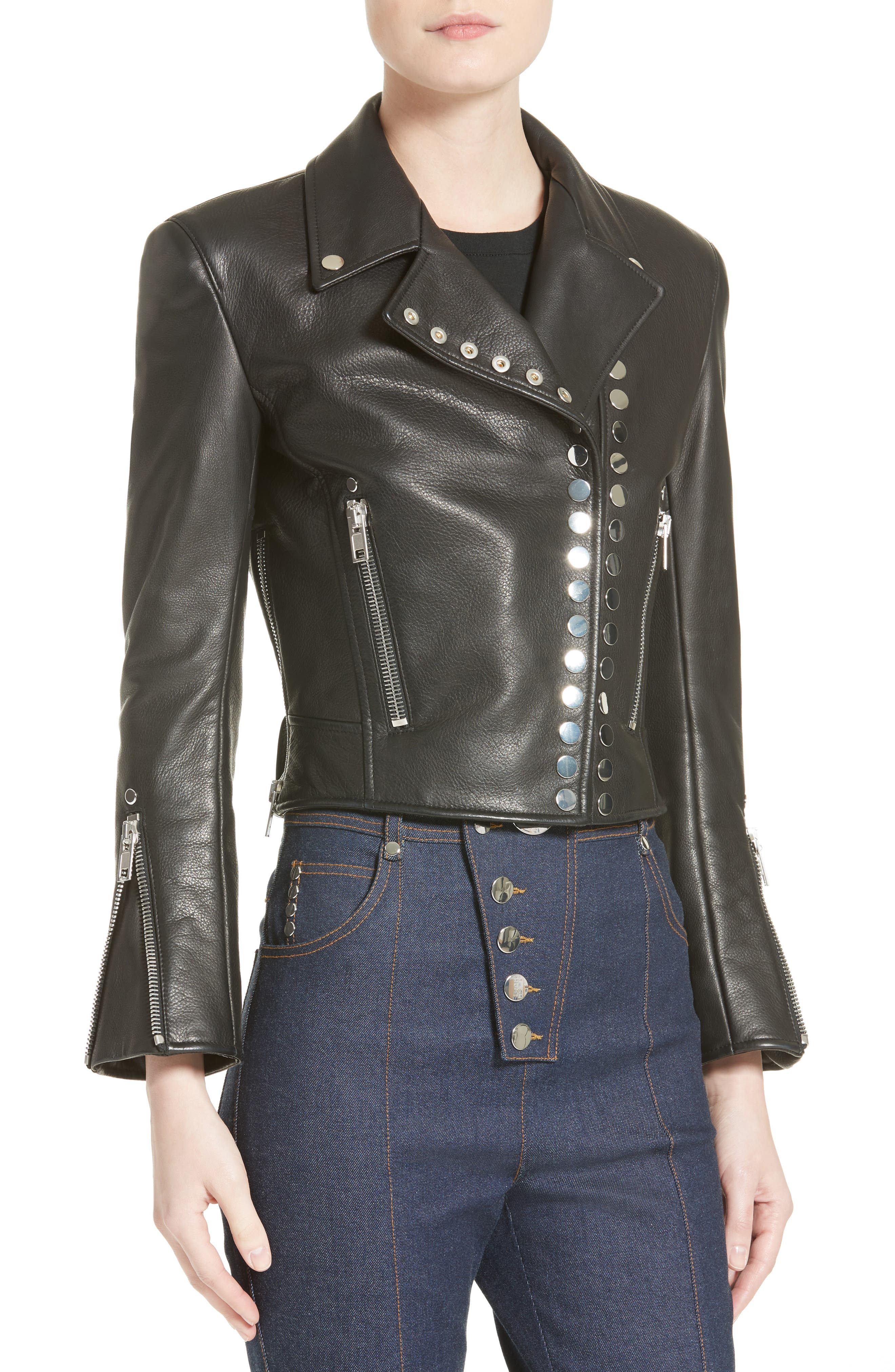 Snap Leather Moto Jacket,                             Alternate thumbnail 4, color,                             001