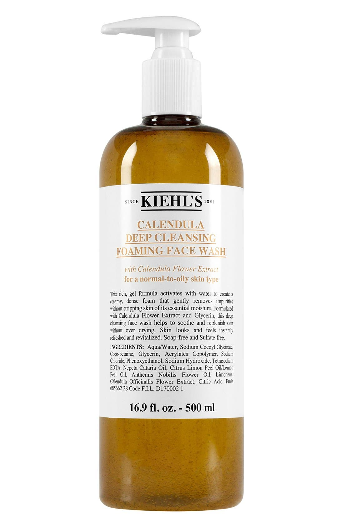 KIEHL'S SINCE 1851,                             Calendula Deep Cleansing Foaming Face Wash for Normal-to-Oily Skin,                             Alternate thumbnail 3, color,                             NO COLOR