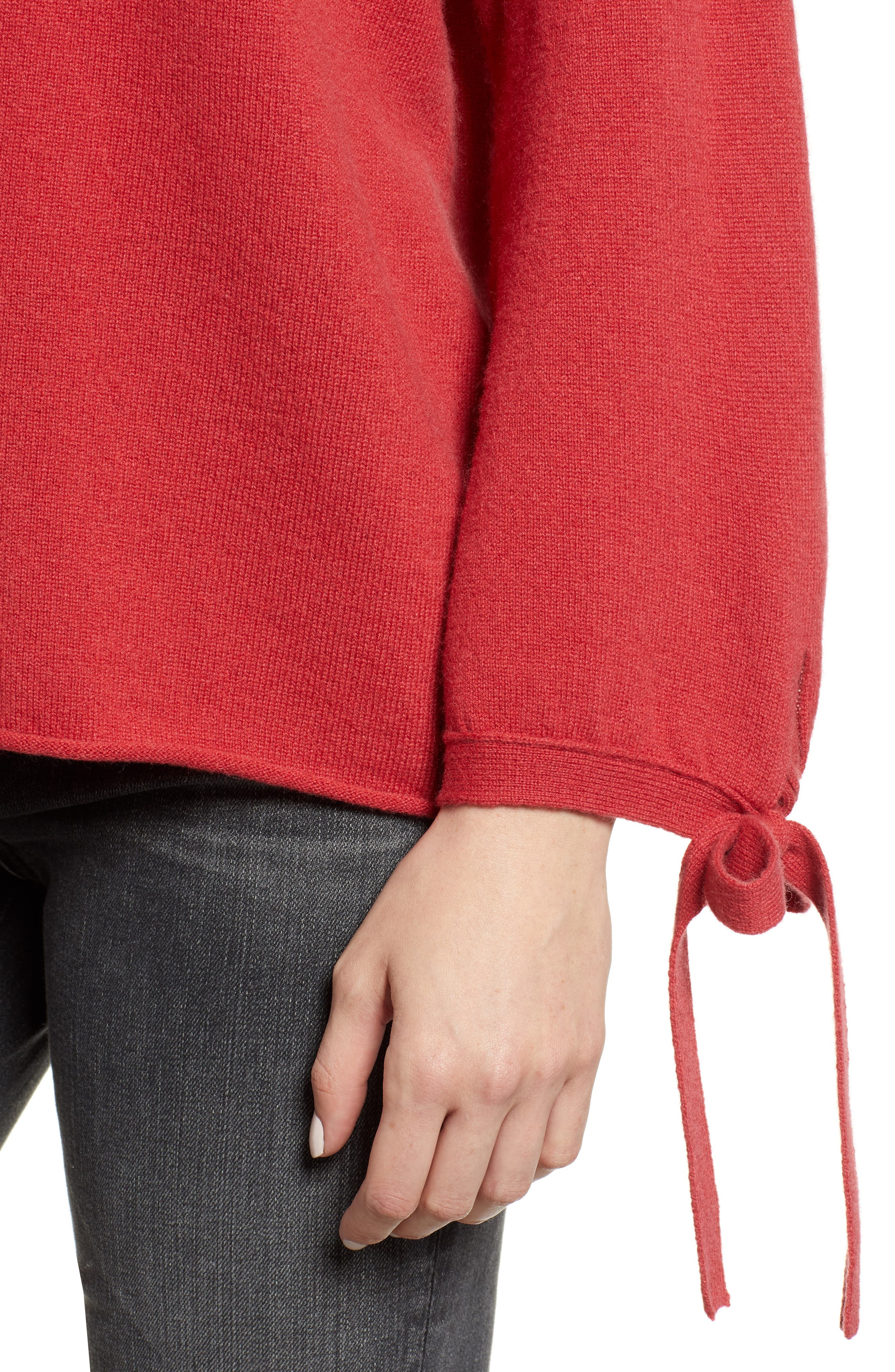 Cashmere Tie Sleeve Sweater,                             Alternate thumbnail 4, color,                             SNAPPER
