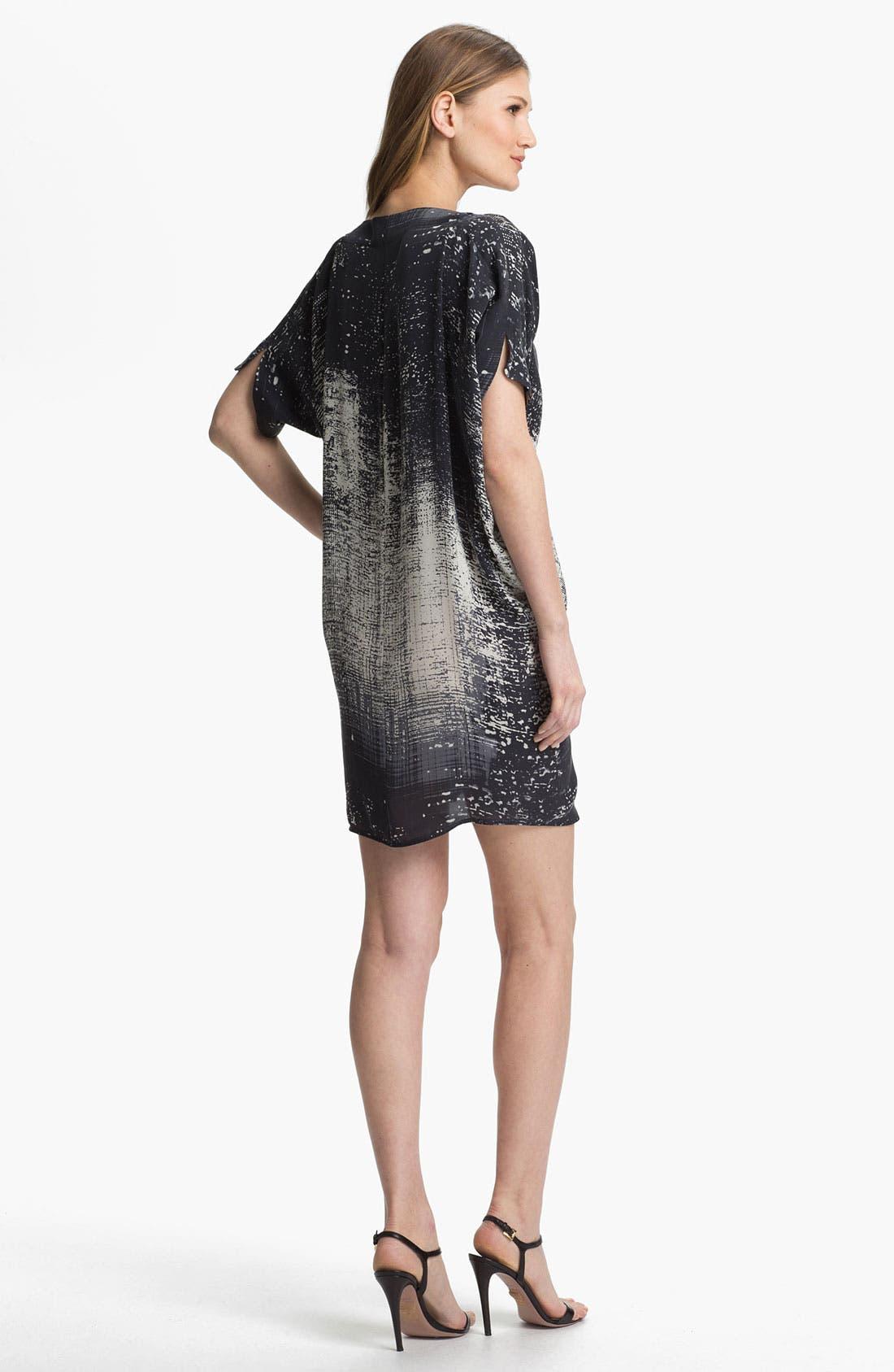 Print Silk Shift Dress,                             Alternate thumbnail 3, color,                             001