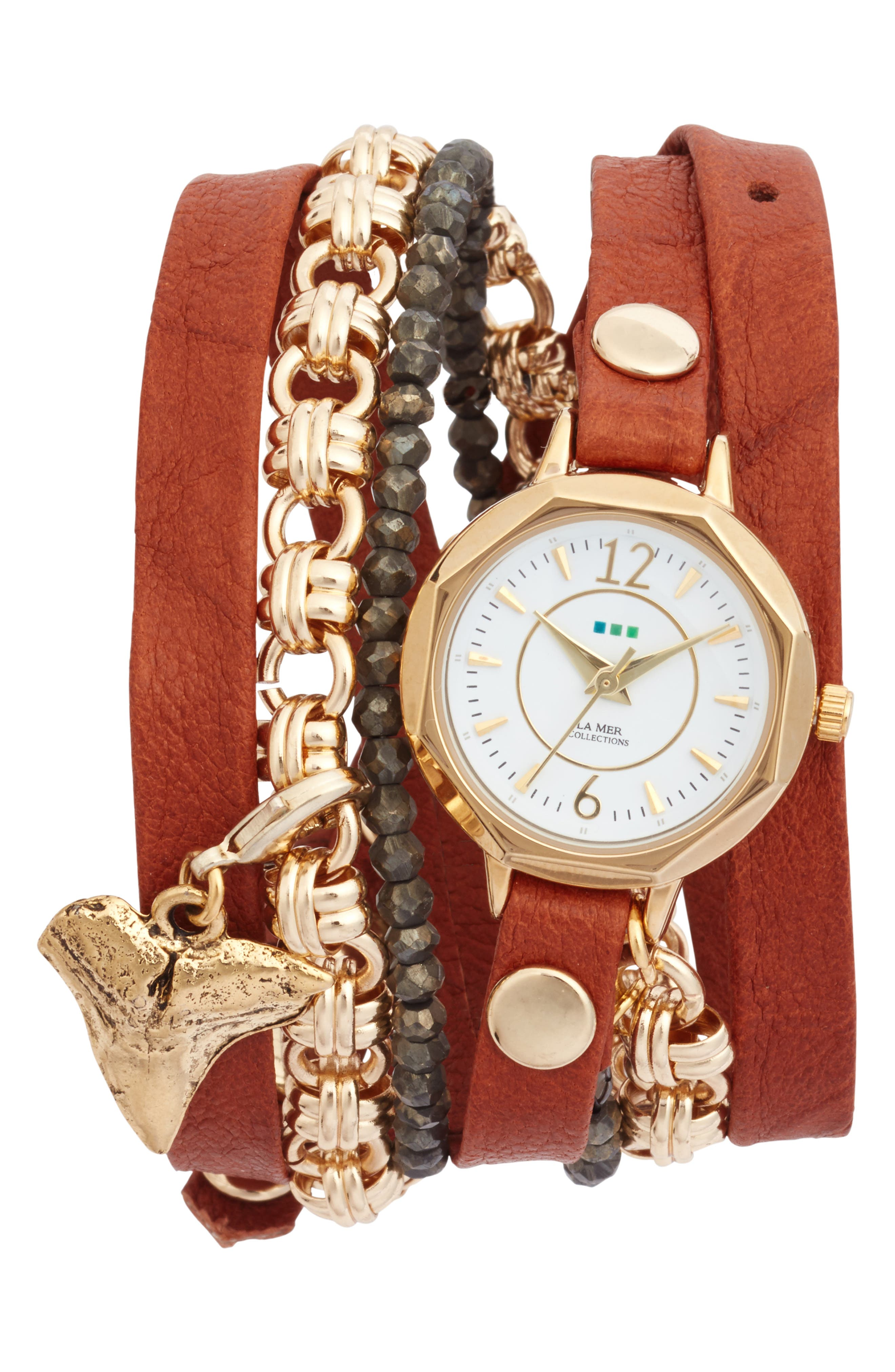 Del Mar Leather & Chain Wrap Watch, 35mm x 20mm,                             Main thumbnail 1, color,                             TOBACCO/ WHITE/ GOLD