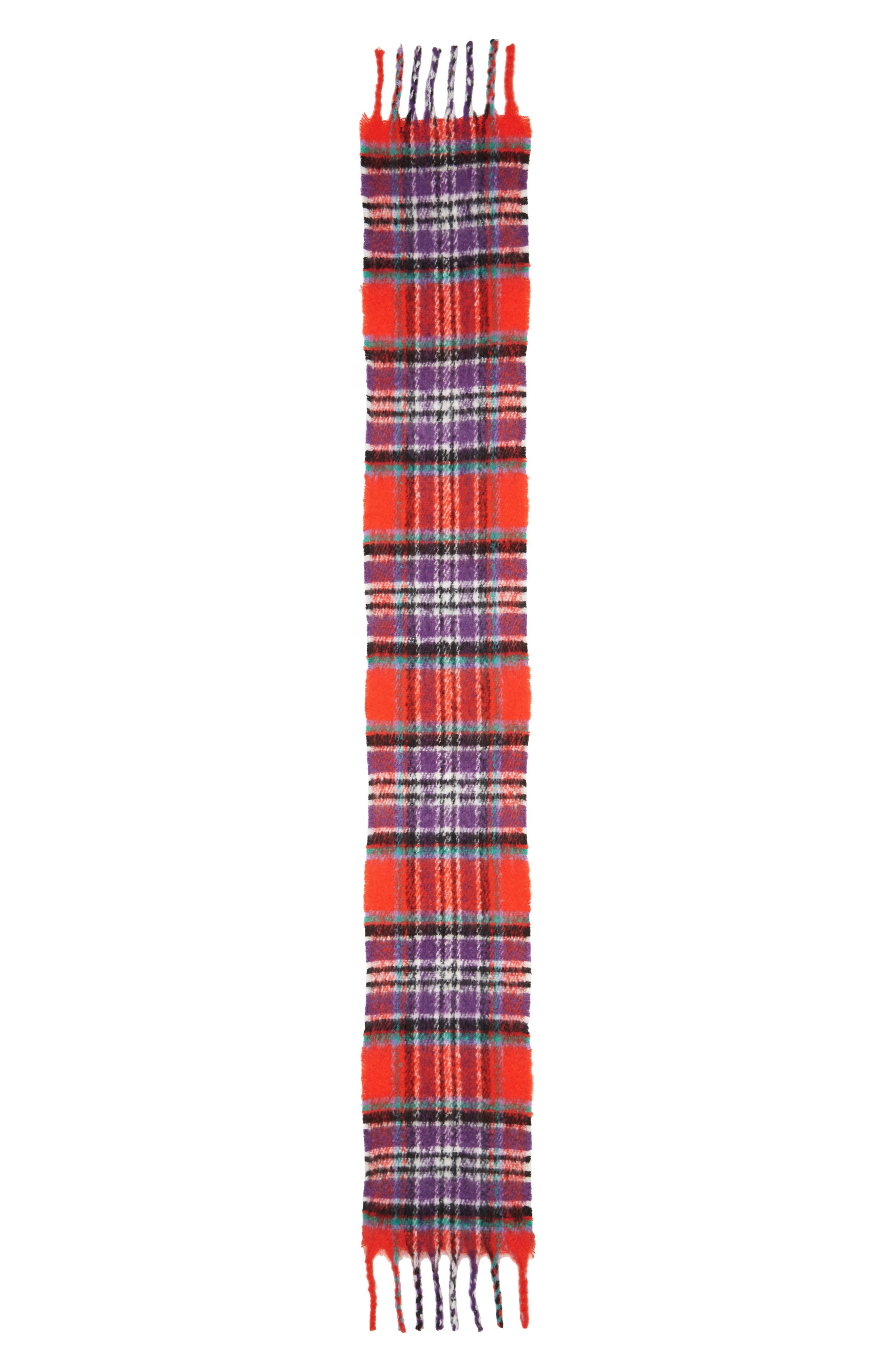 Heavy Check Scarf,                             Alternate thumbnail 3, color,                             RED MULTI