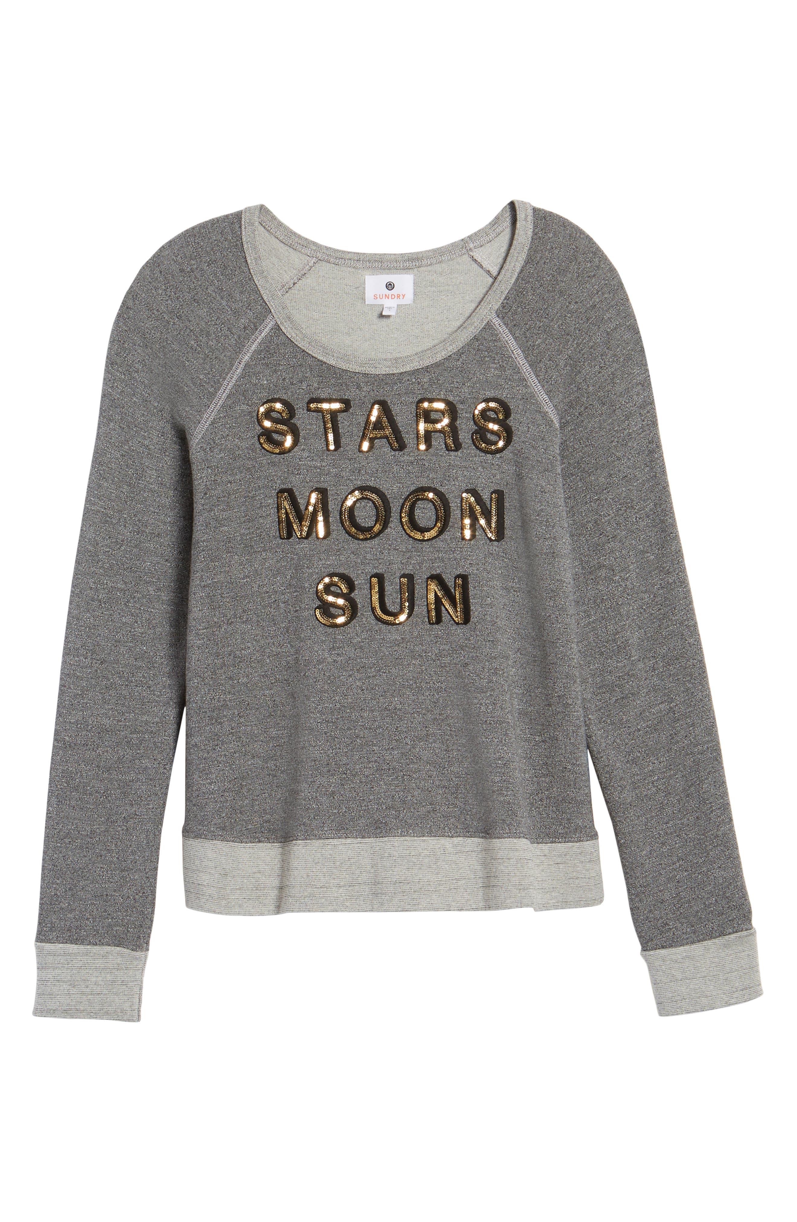 Stars Moon Sun Crop Sweatshirt,                             Alternate thumbnail 6, color,                             039