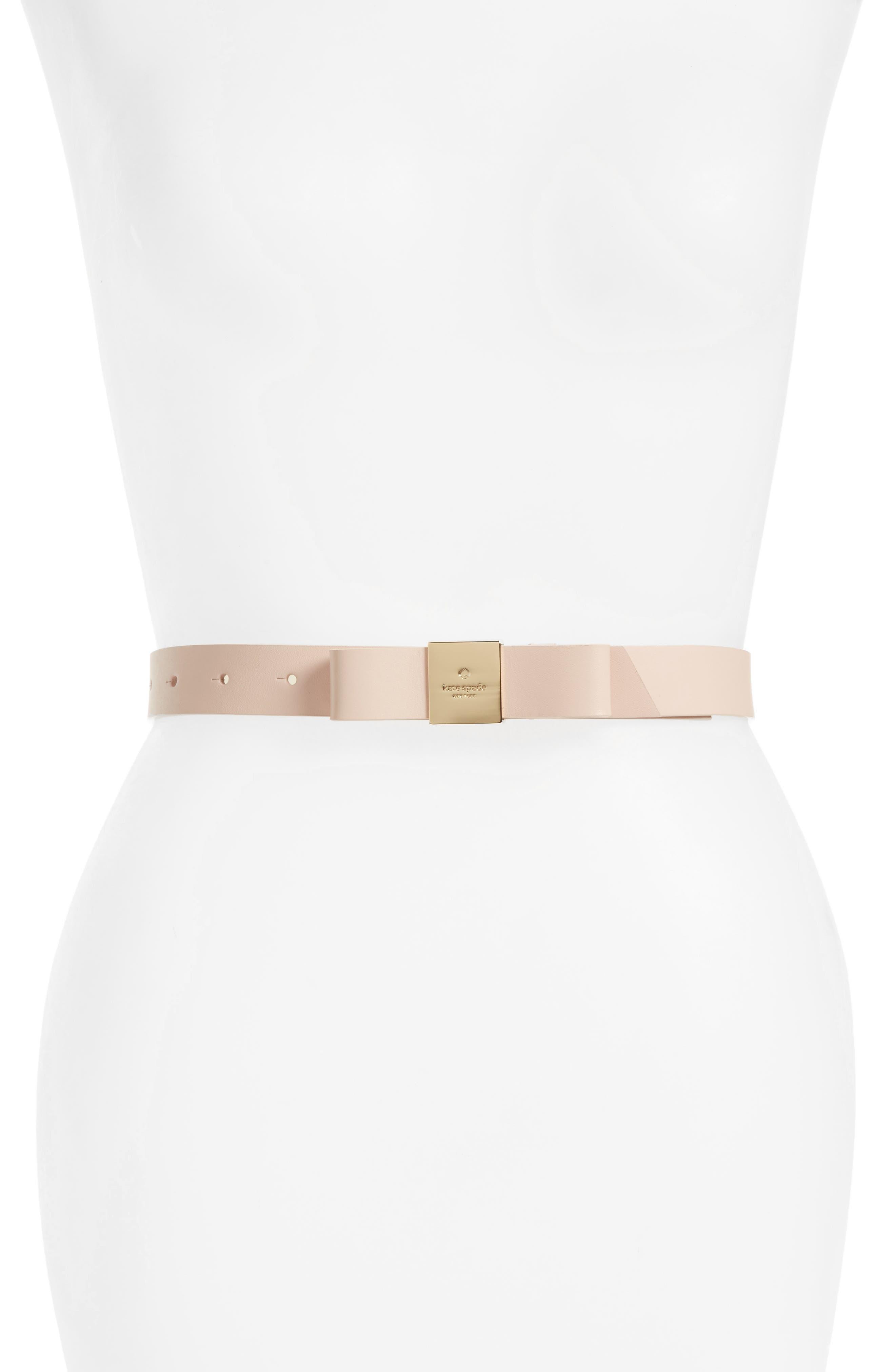 bow calfskin leather belt,                             Main thumbnail 2, color,