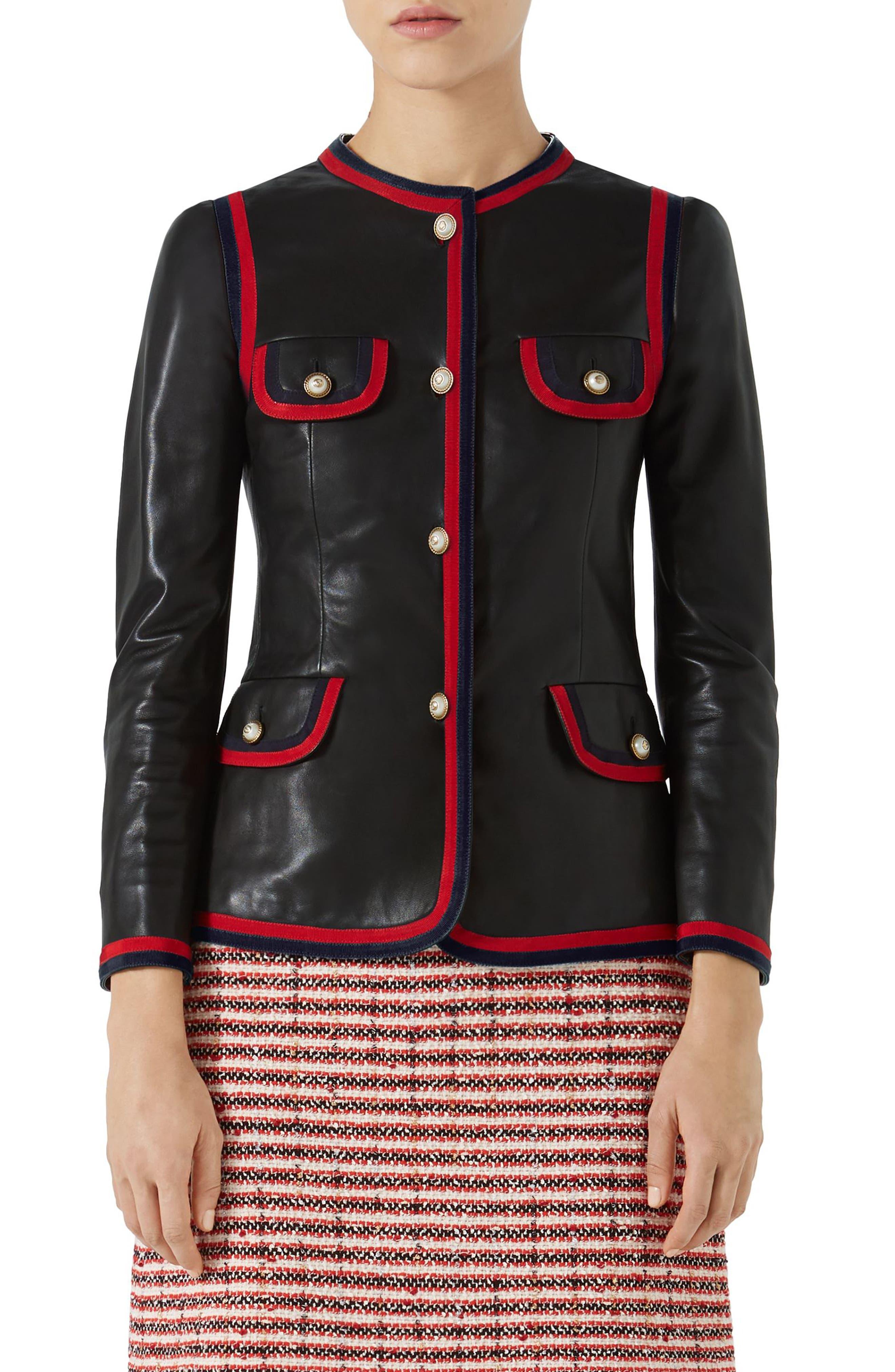 Ribbon Trim Nappa Leather Jacket,                         Main,                         color, BLACK