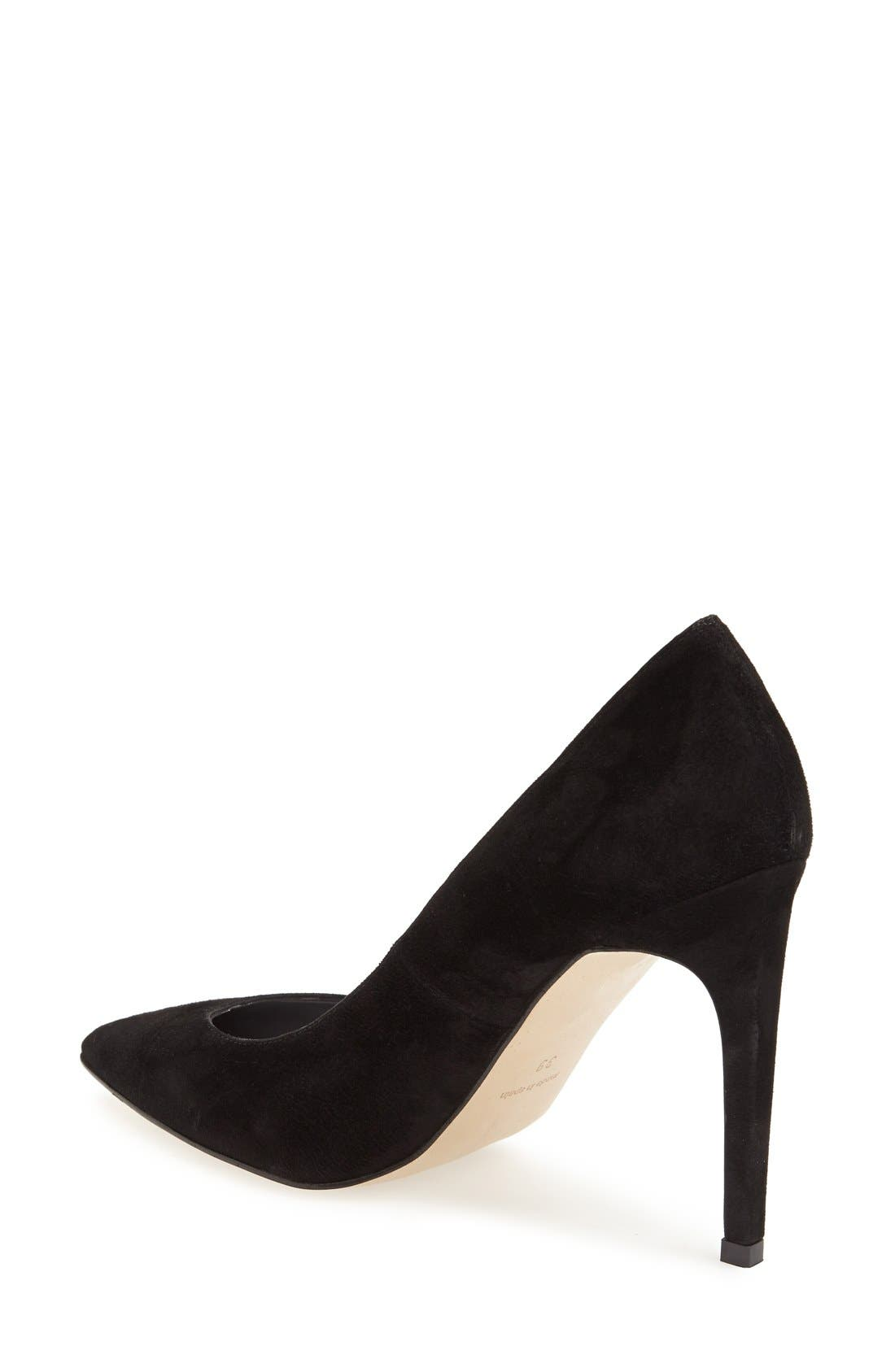 'Glory' Pointy Toe Suede Pump,                             Alternate thumbnail 2, color,                             001