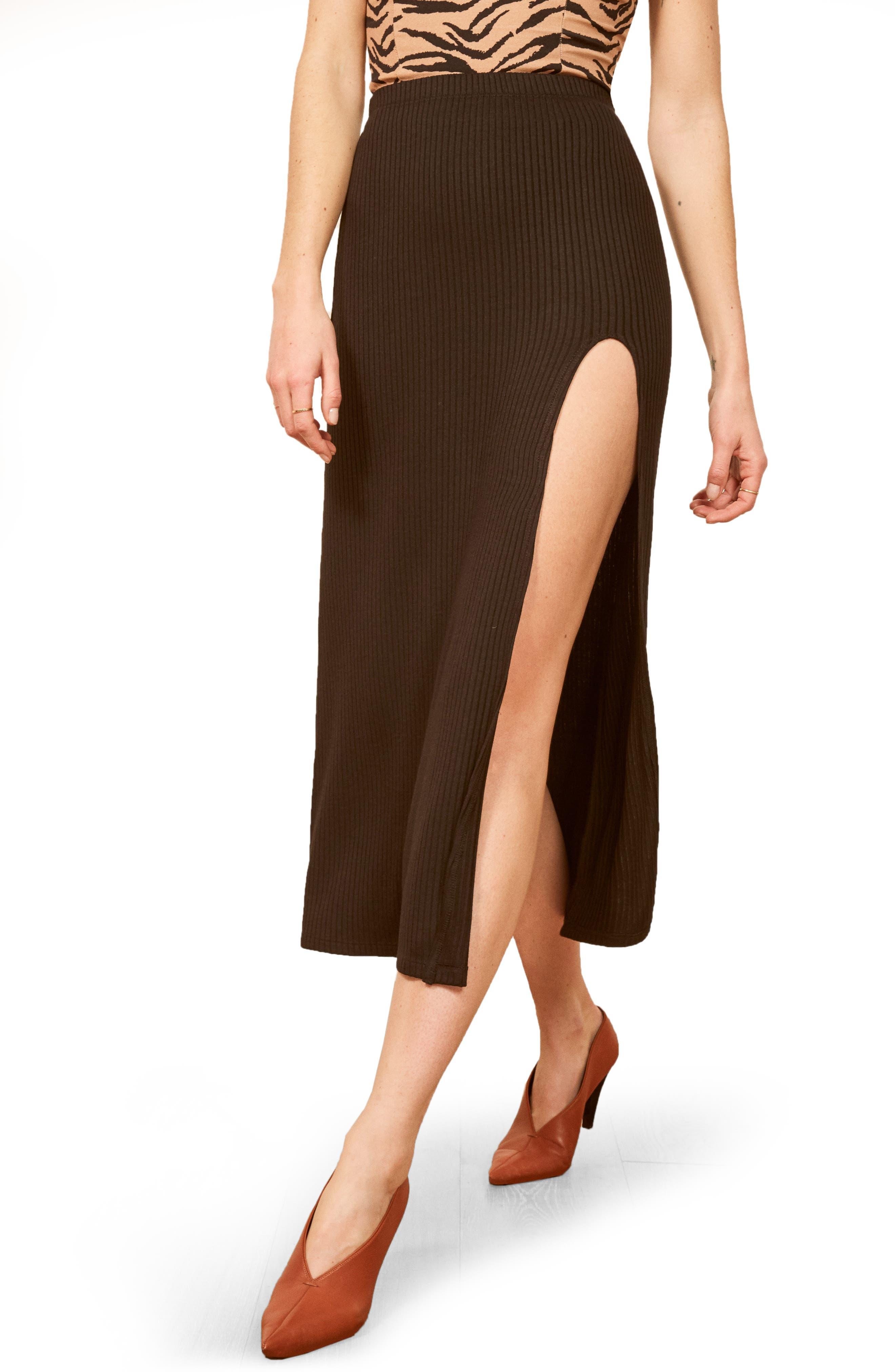 REFORMATION,                             Runyon Side Slit Midi Skirt,                             Main thumbnail 1, color,                             BLACK
