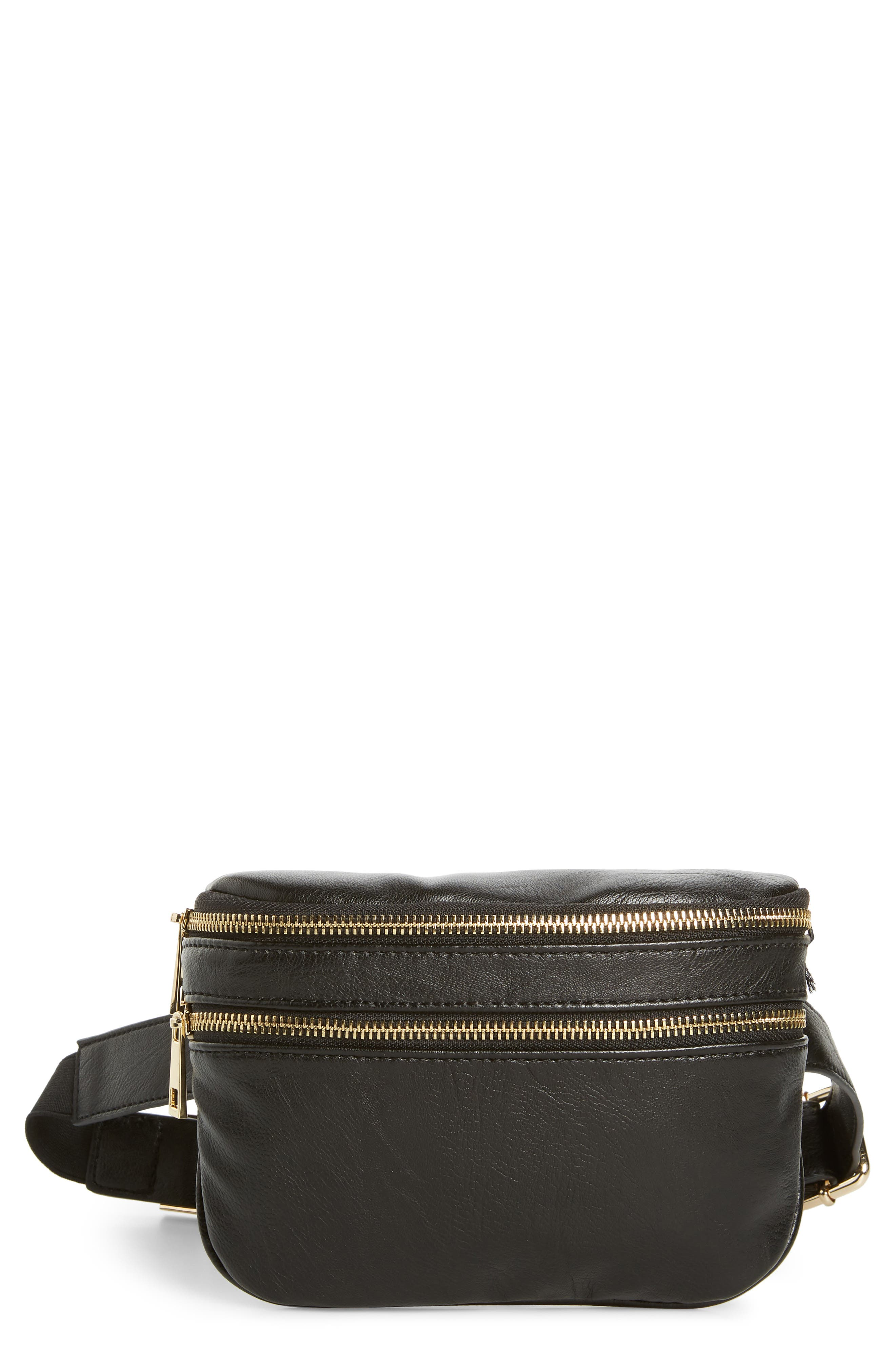 Cadee Faux Leather Belt Bag,                         Main,                         color, BLACK