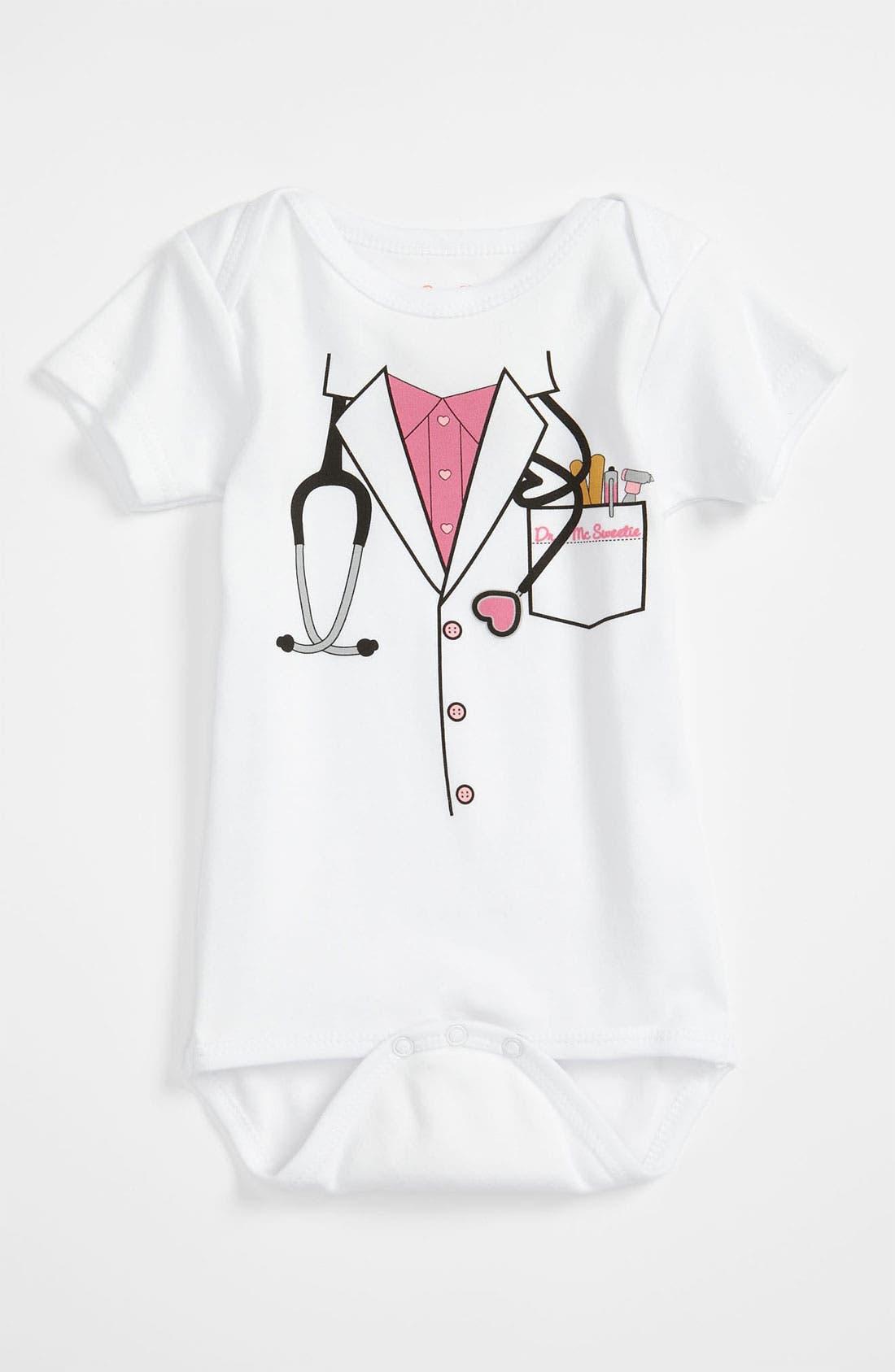 'Doctor' Bodysuit,                             Main thumbnail 1, color,                             WHITE