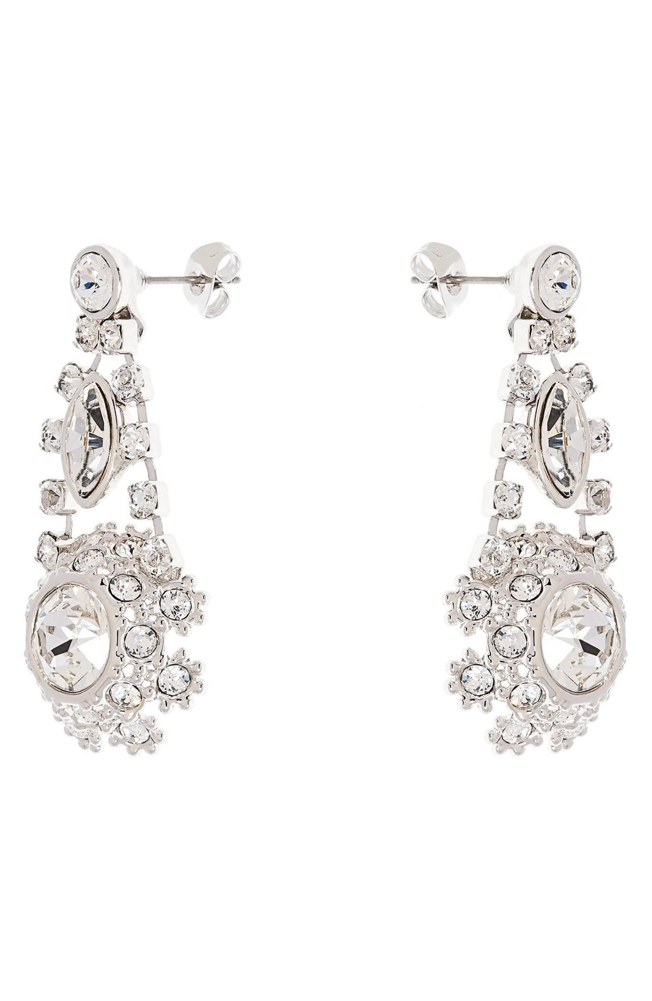 Crystal Daisy Lace Drop Earrings,                             Alternate thumbnail 2, color,                             100