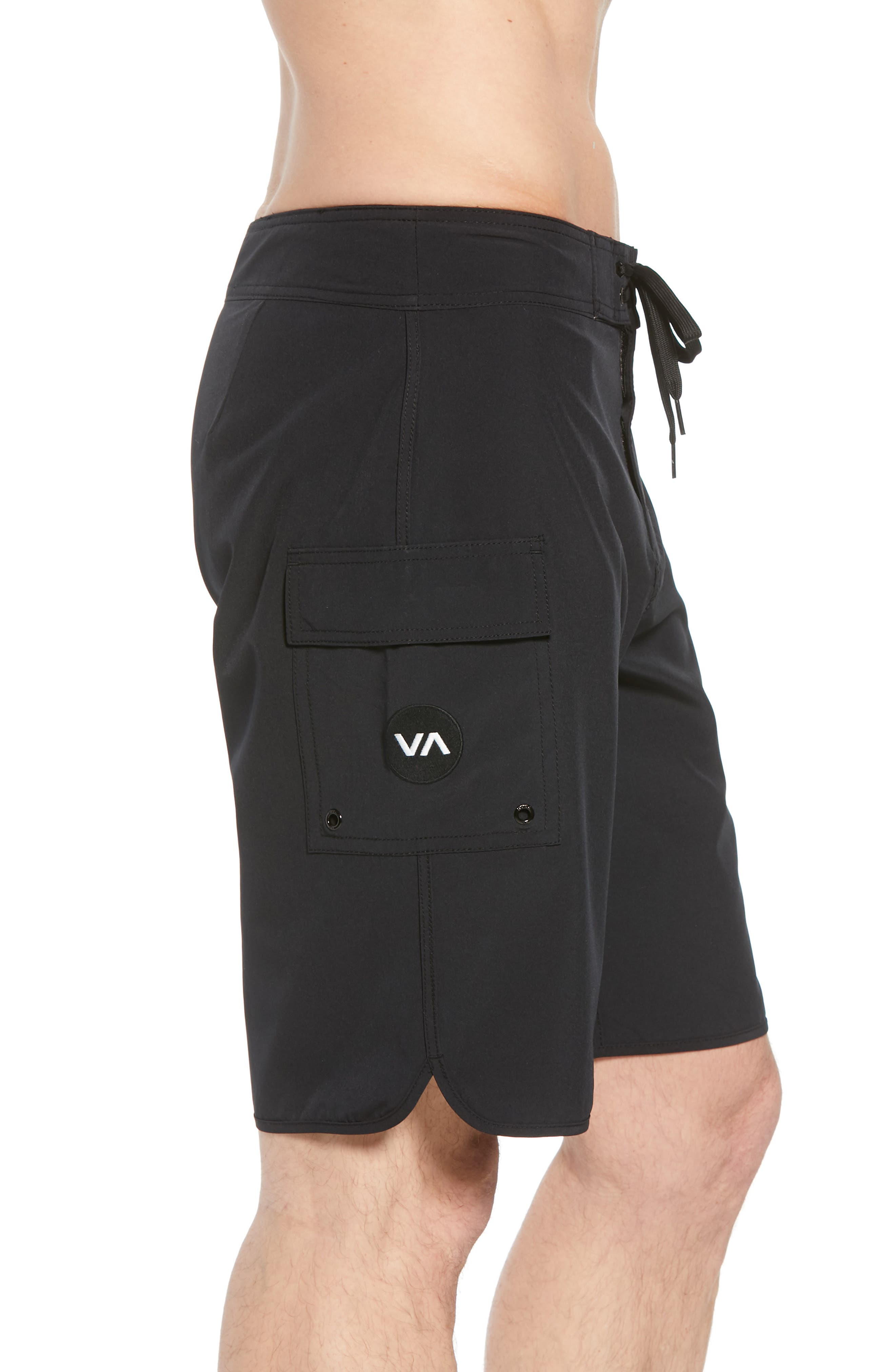 'Eastern' Scalloped Hem Board Shorts,                             Alternate thumbnail 3, color,                             ALL BLACK