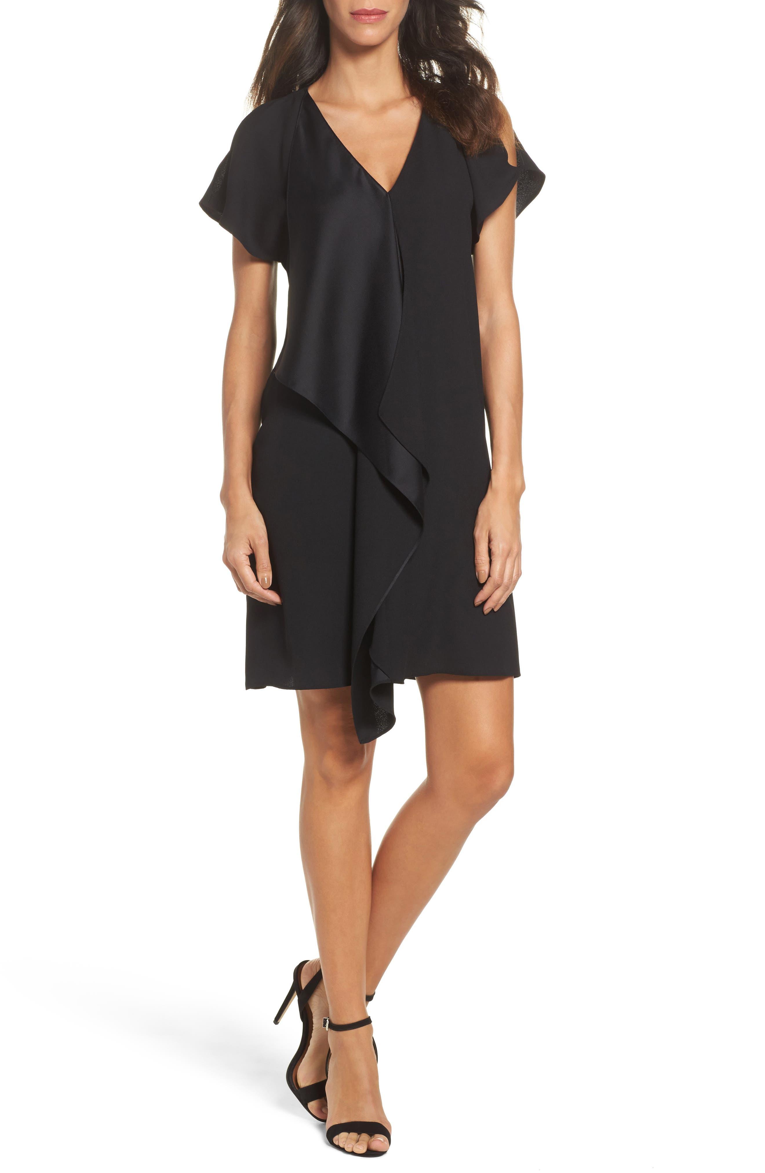 Crepe & Satin Ruffle Shift Dress,                         Main,                         color, 002