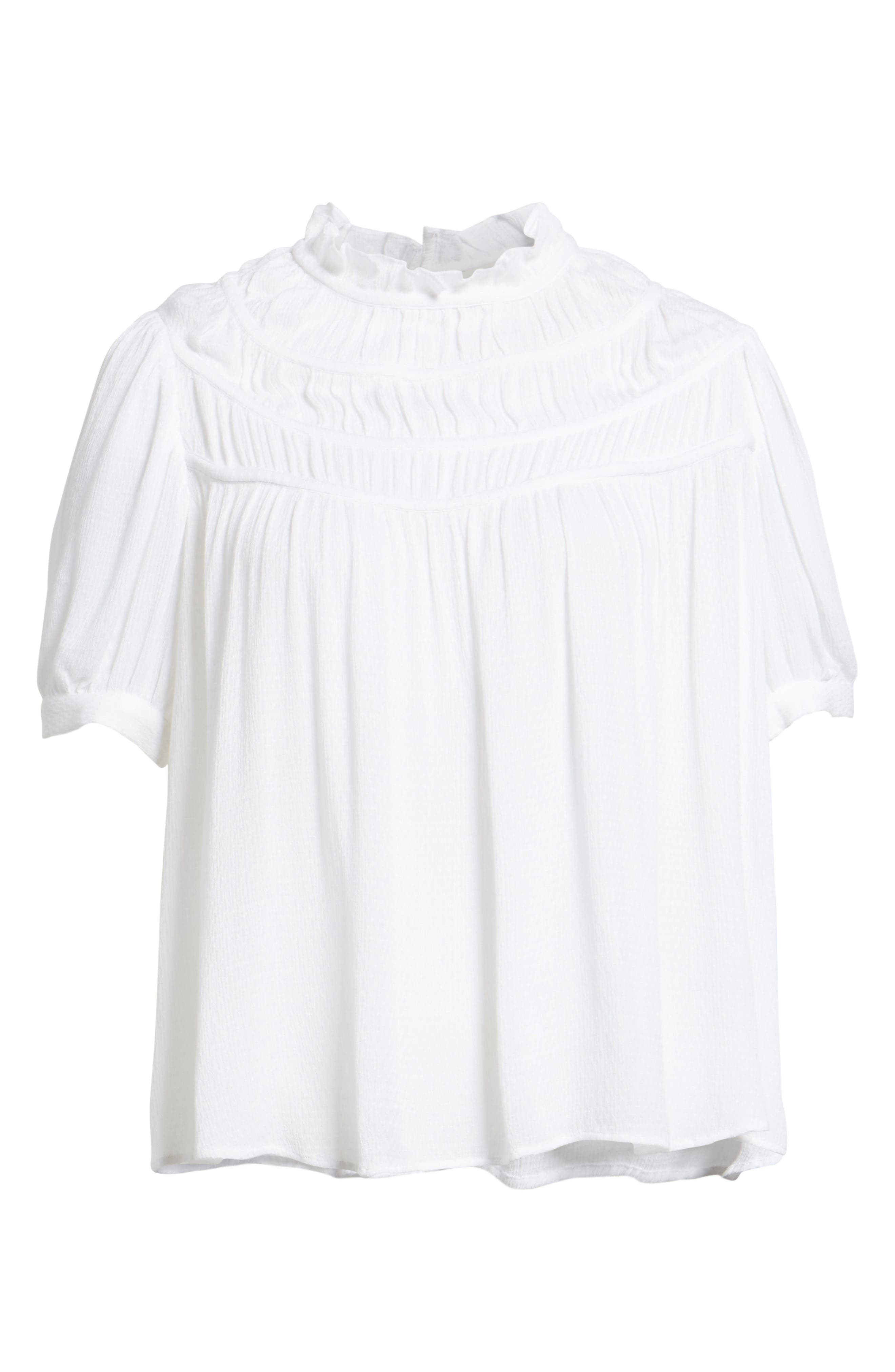 Ruched Puff Sleeve Top,                             Alternate thumbnail 6, color,                             100