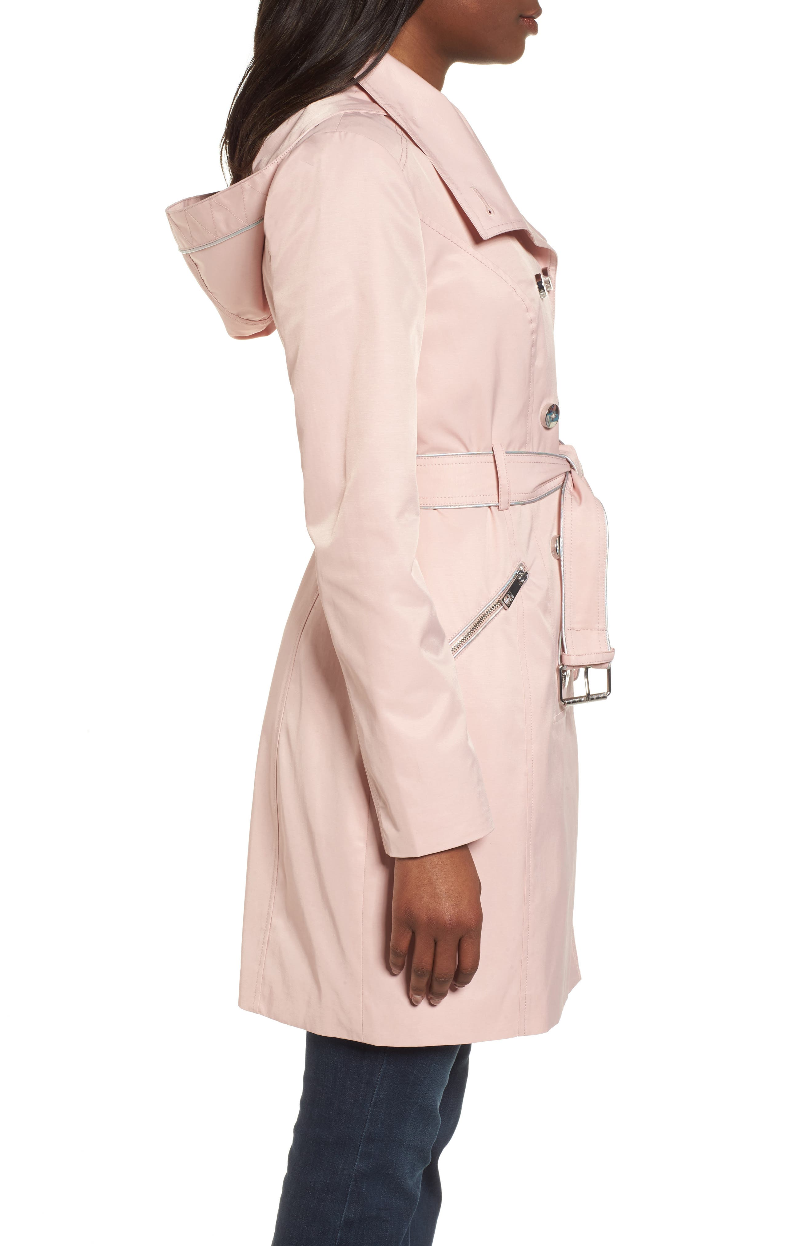 Hooded Piped Trench Coat,                             Alternate thumbnail 7, color,