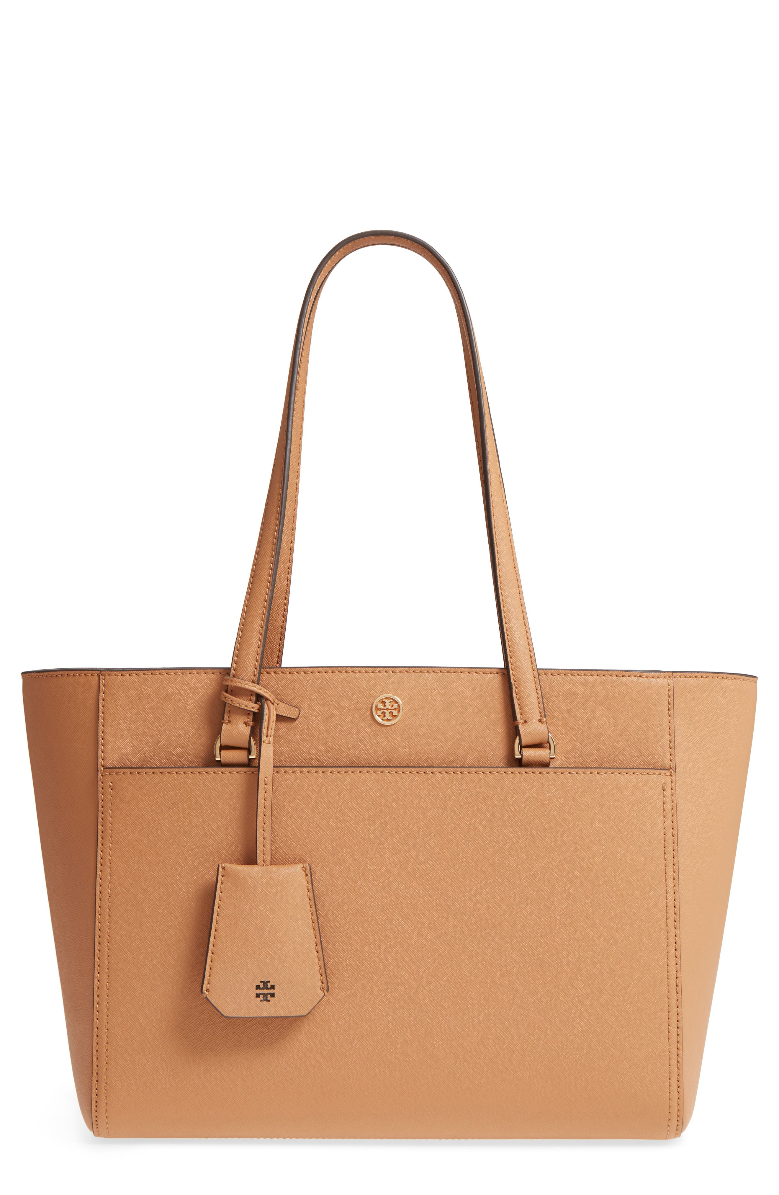 Robinson Small Saffiano Leather Zip-Top Shoulder Tote Bag in Cardamom / Royal Navy
