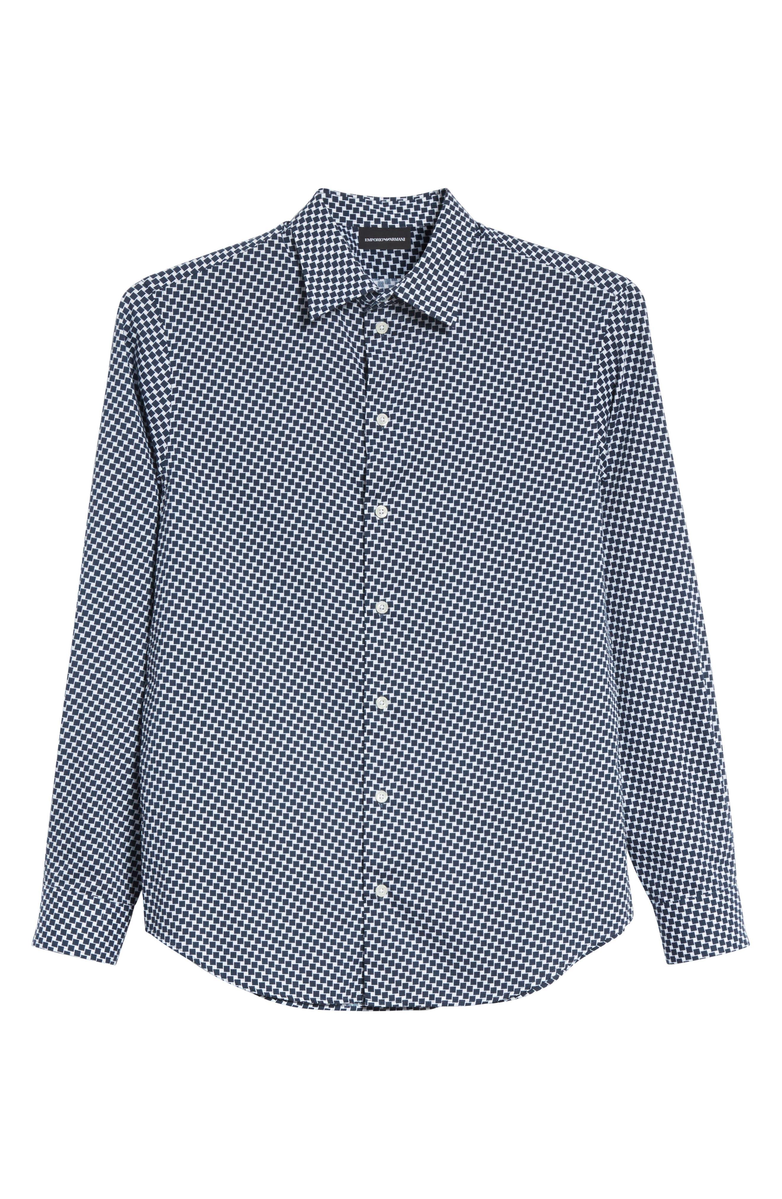 Rectangle Print Regular Fit Sport Shirt,                             Alternate thumbnail 6, color,