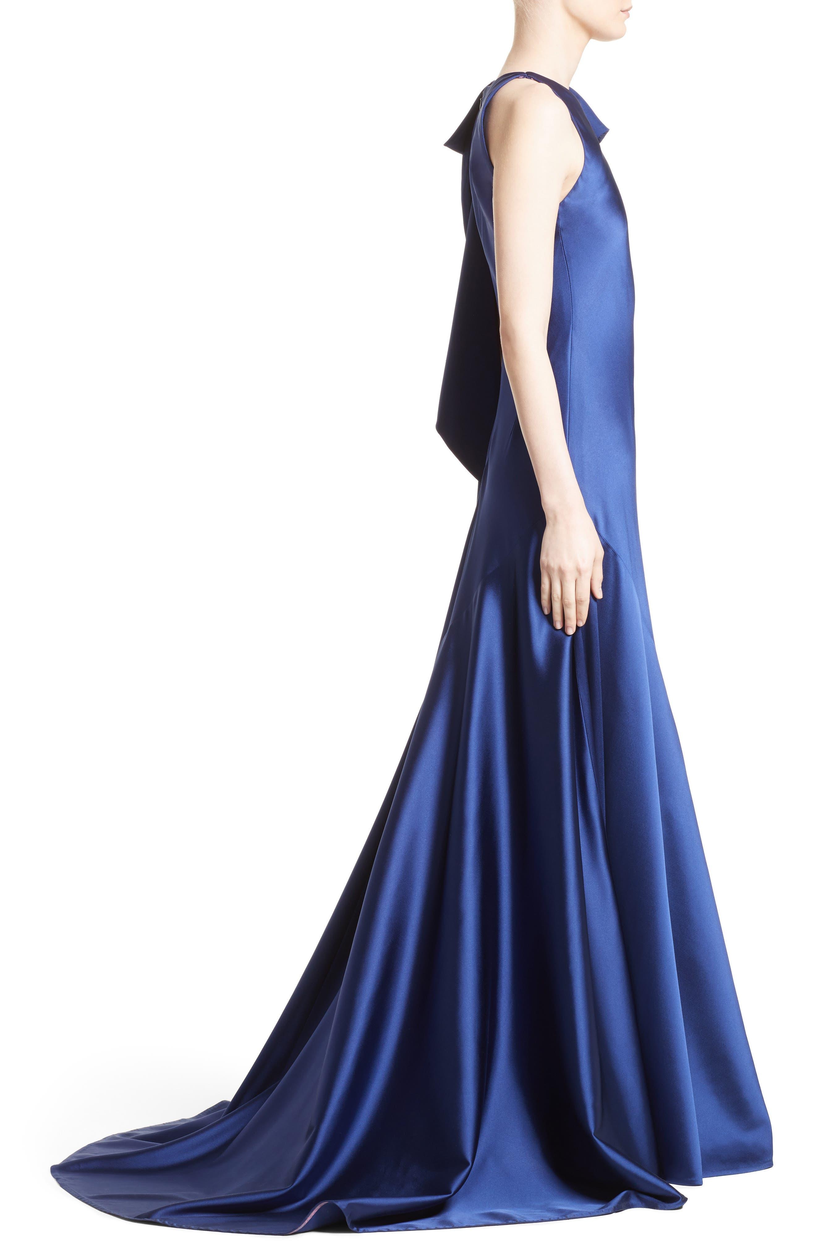 Bow Detail Crepe Satin Gown,                             Alternate thumbnail 3, color,