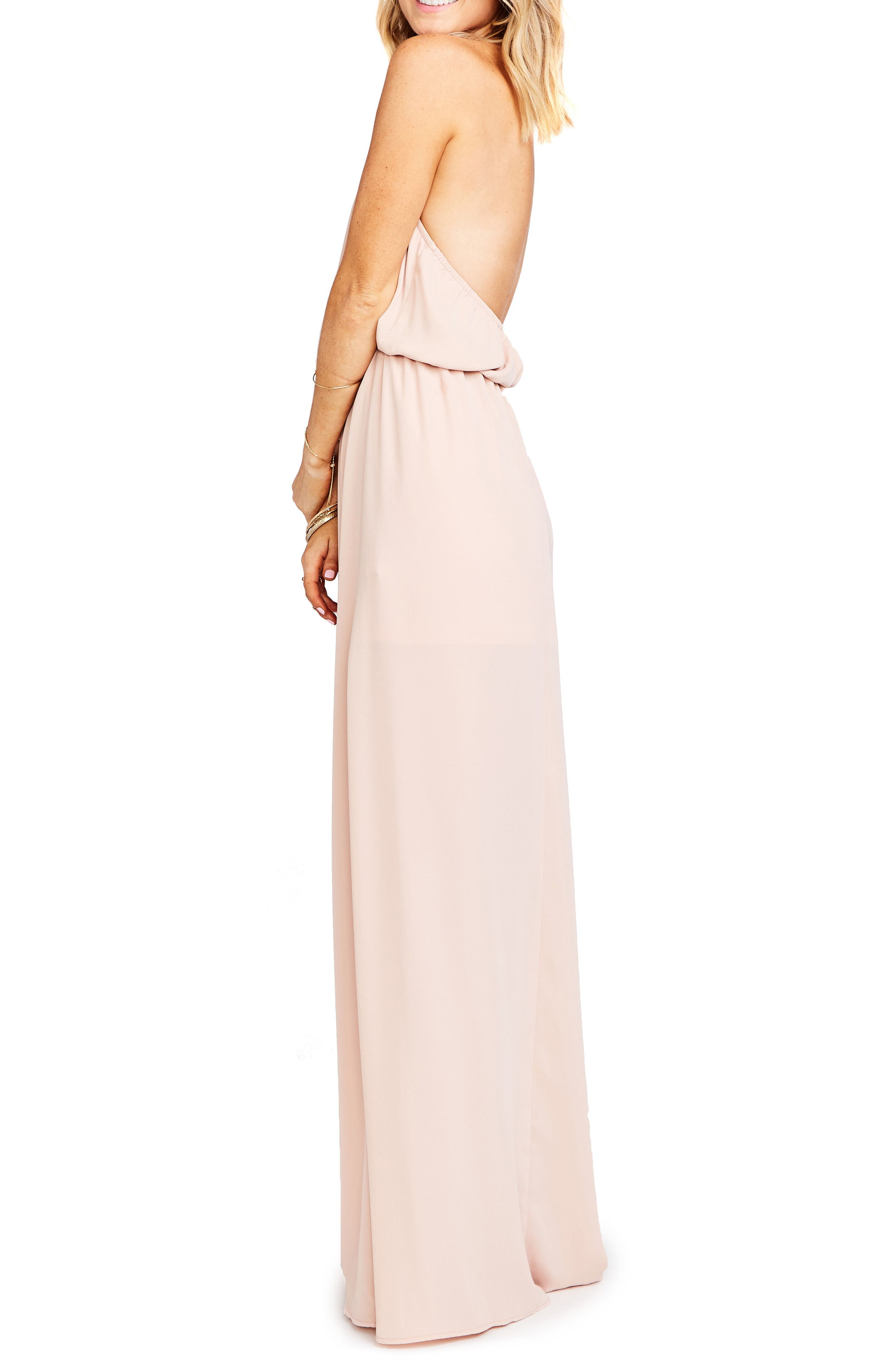 Heather Chiffon Halter Gown,                             Alternate thumbnail 3, color,                             DUSTY BLUSH