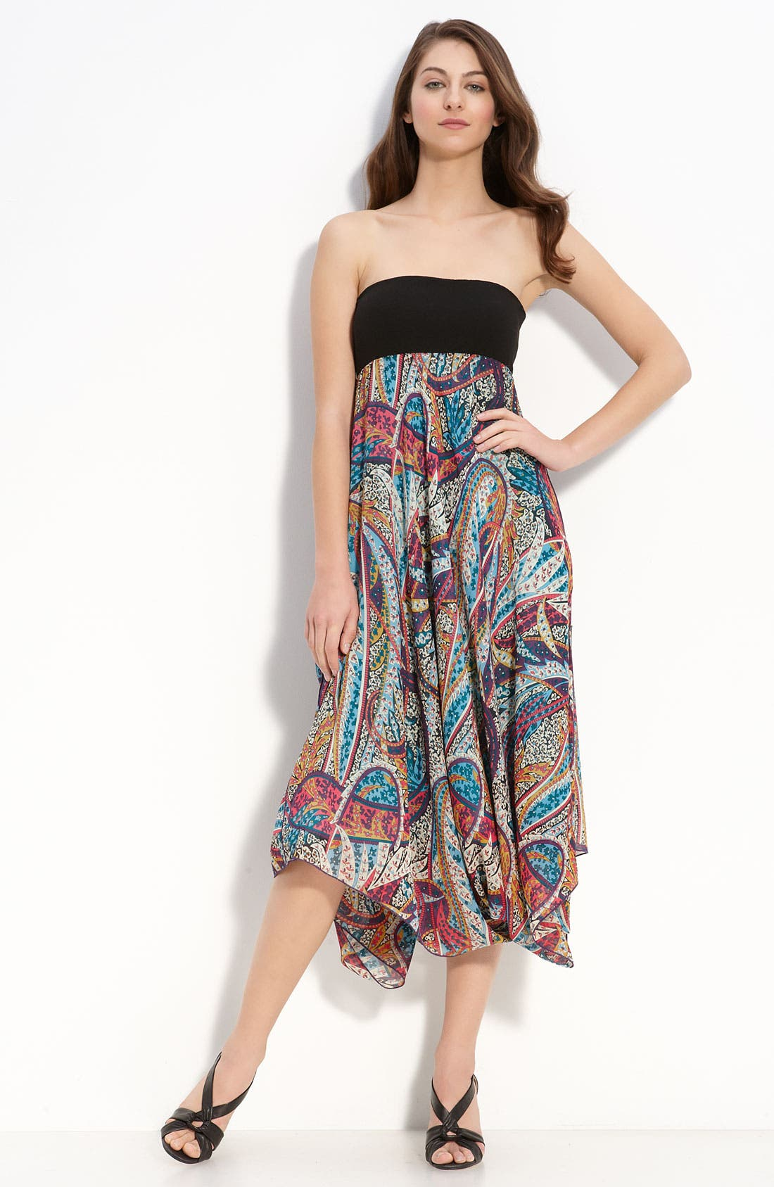 Print Silk Handkerchief Dress, Main, color, 440